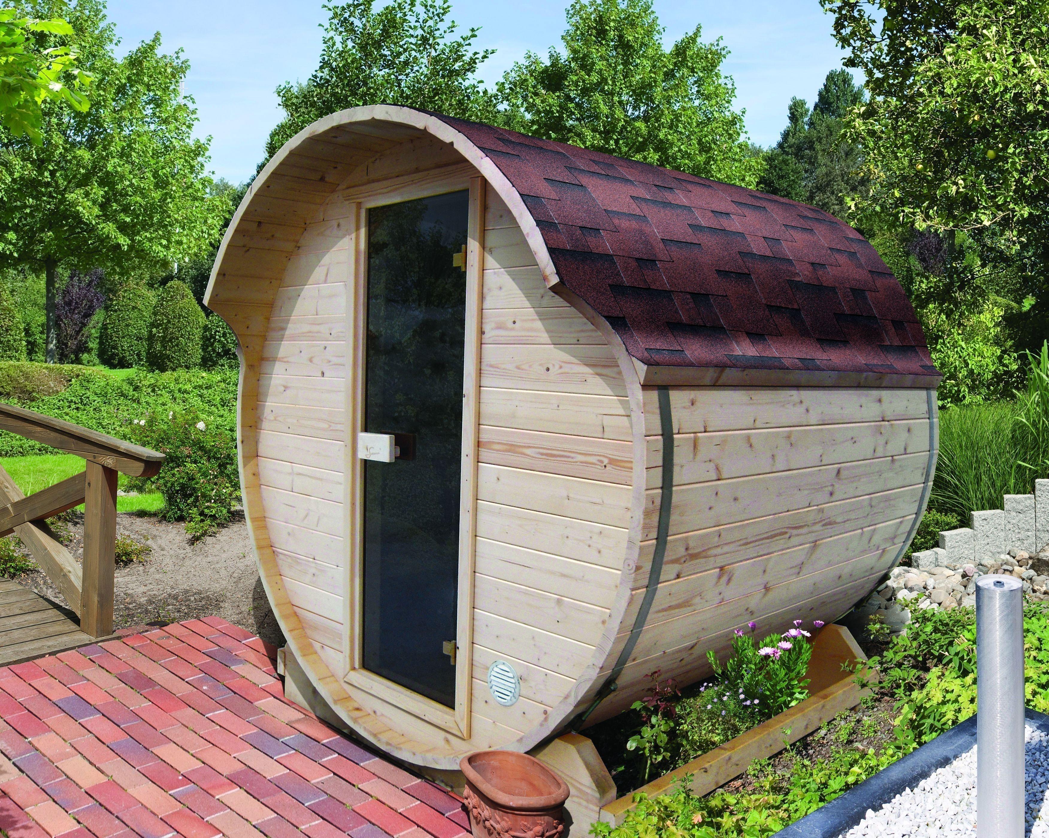 Außensauna karibu fass 1 außensauna mit bio saunaofen 9kw bei
