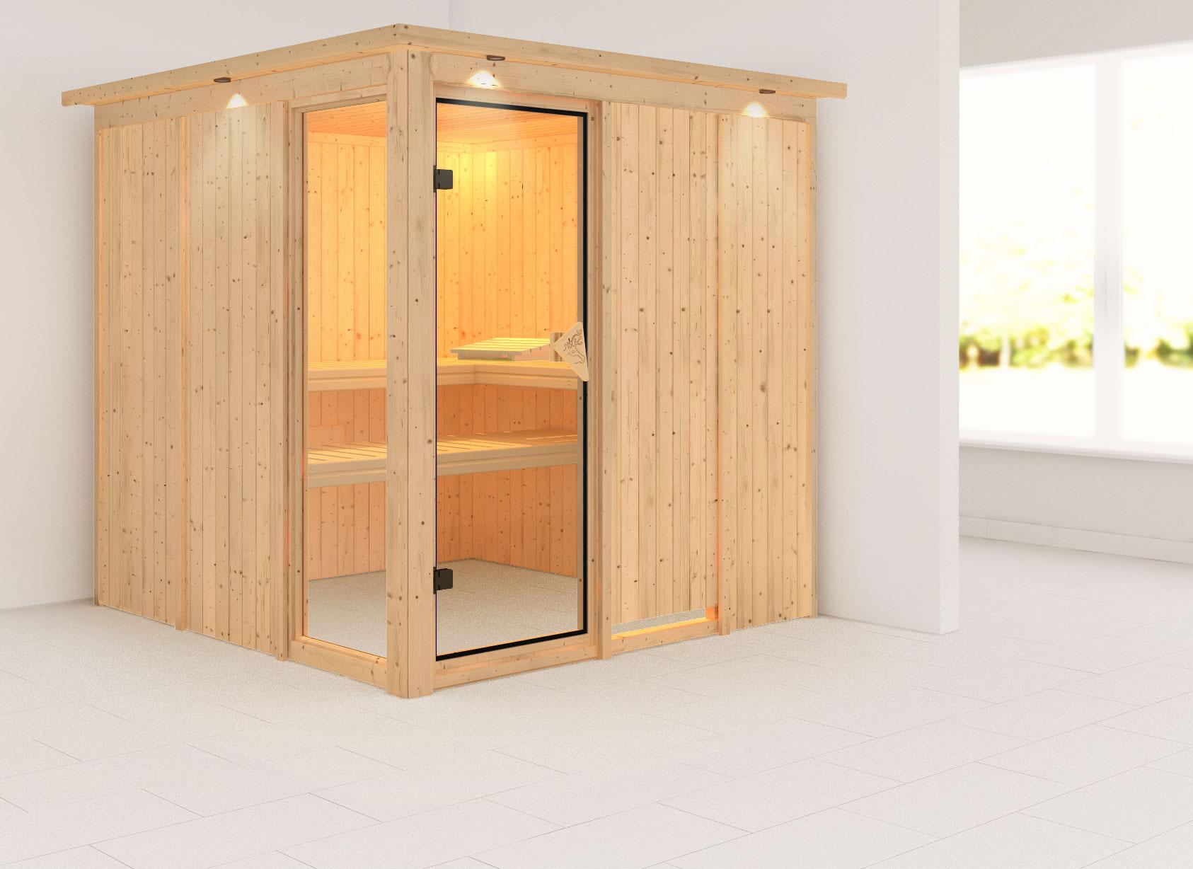 karibu sauna helin 68mm dachkranz ohne ofen classic t r. Black Bedroom Furniture Sets. Home Design Ideas