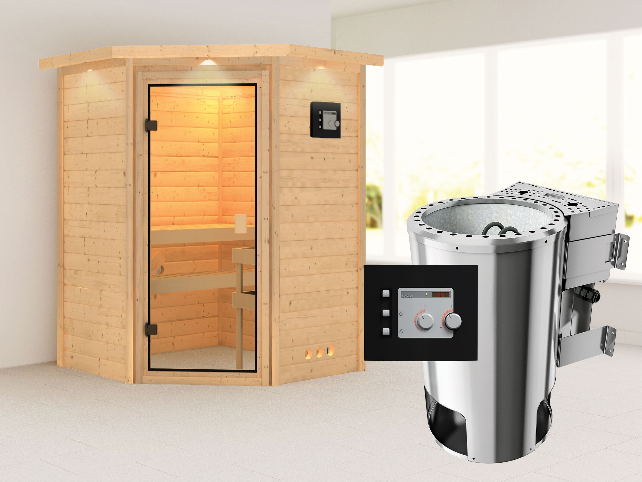 karibu sauna alicja 38mm 230v dachkranz bio ofen 3 6kw classic t r bei. Black Bedroom Furniture Sets. Home Design Ideas