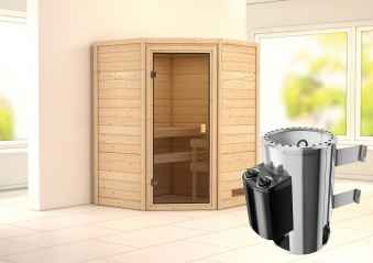 karibu sauna alicja 38mm 230v mit ofen 3 6kw intern classic t r bei. Black Bedroom Furniture Sets. Home Design Ideas