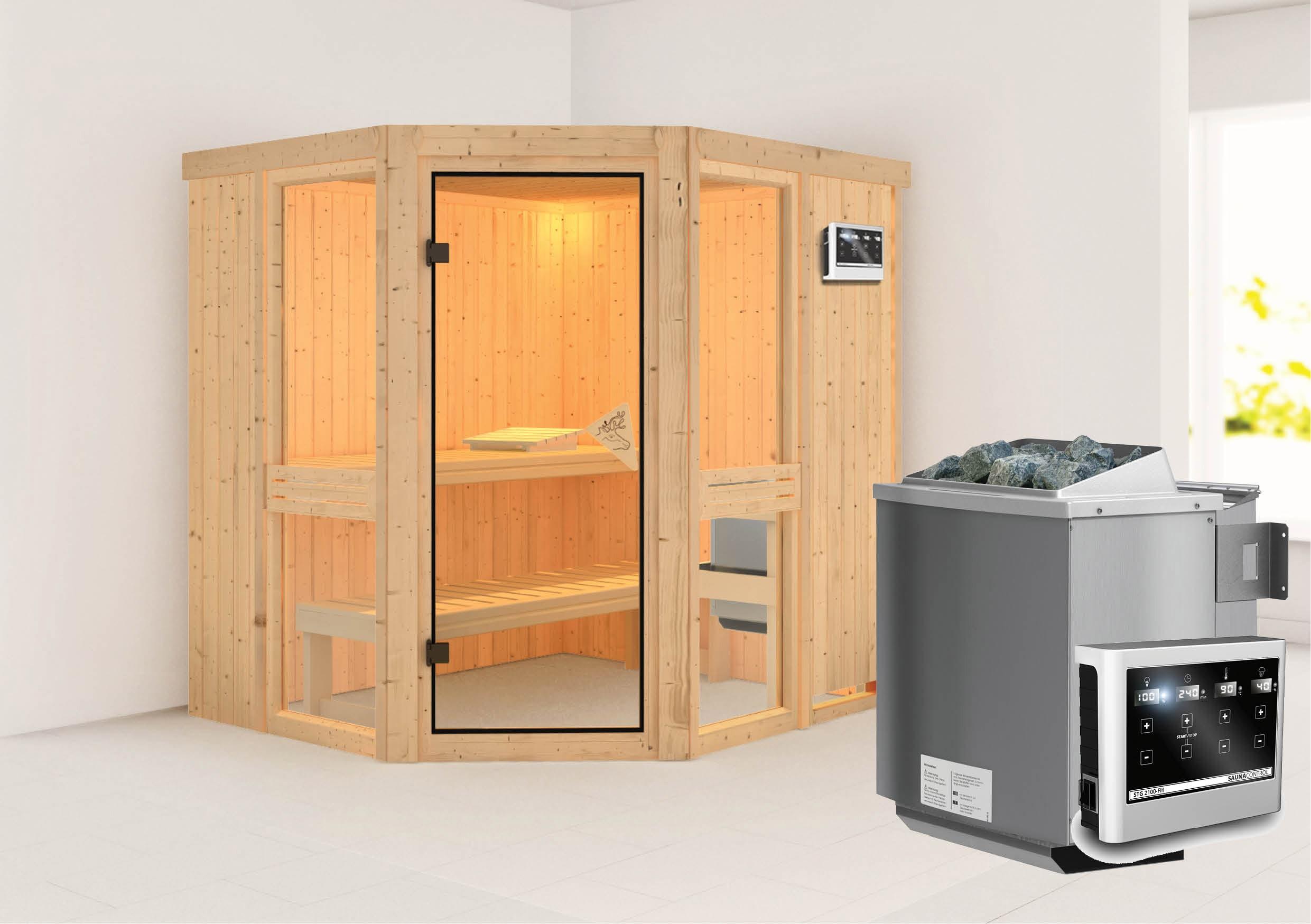 karibu sauna amelia1 68mm mit bio ofen 9kw extern classic t r bei. Black Bedroom Furniture Sets. Home Design Ideas