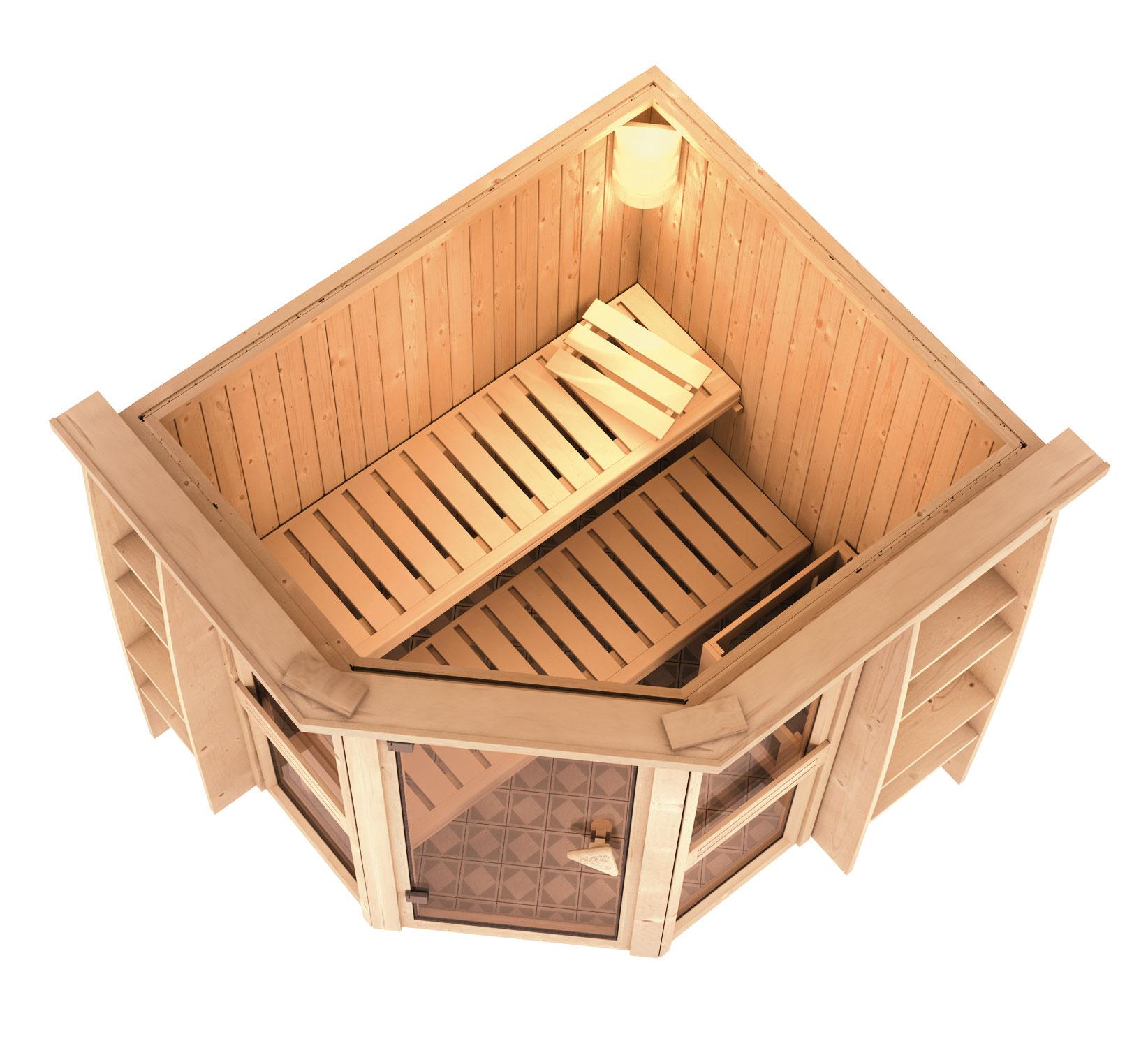 karibu sauna amelia1 68mm mit ofen 9kw intern classic t r. Black Bedroom Furniture Sets. Home Design Ideas
