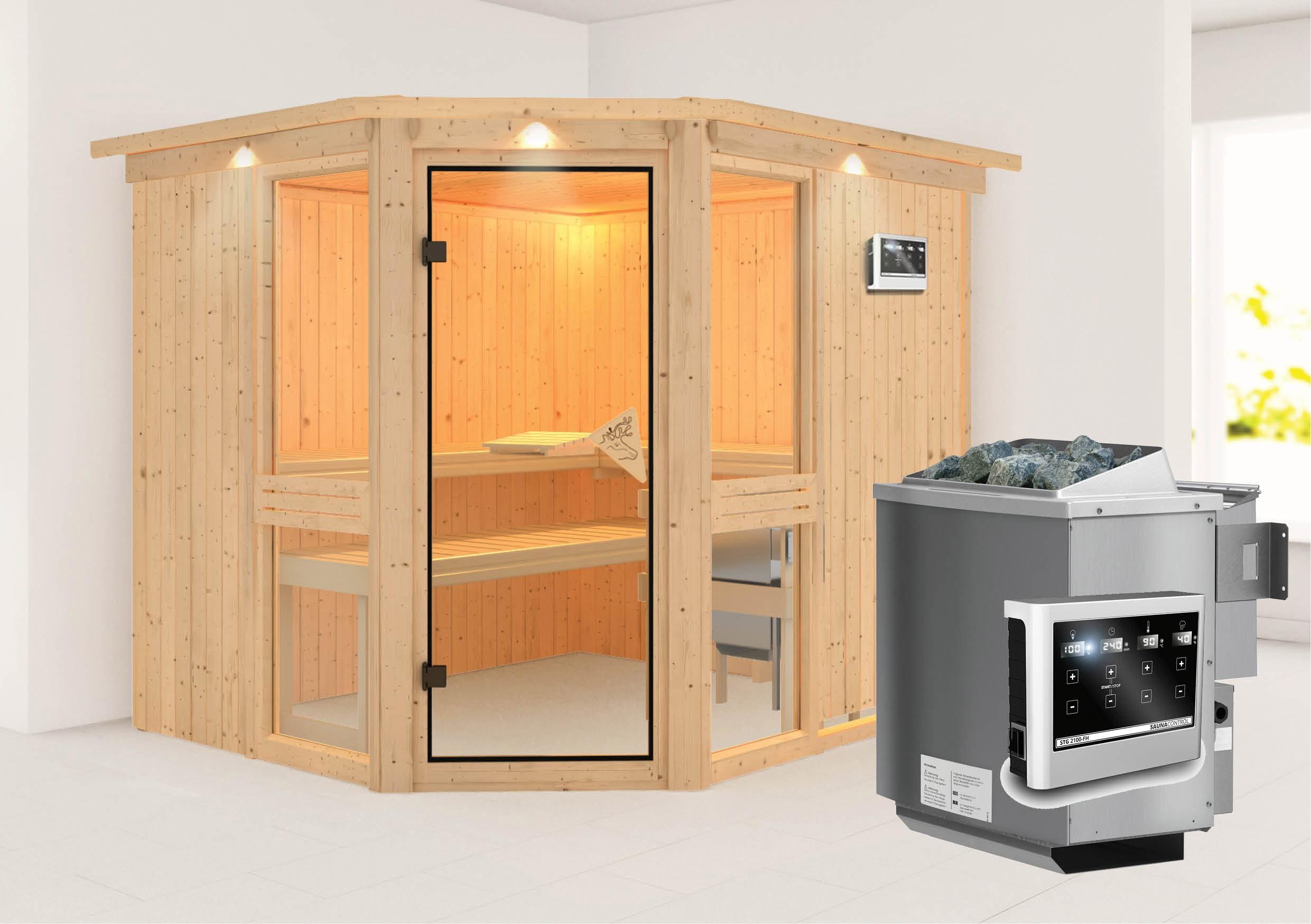 karibu sauna amelia3 68mm dachkranz bio ofen 9kw extern classic t r bei. Black Bedroom Furniture Sets. Home Design Ideas