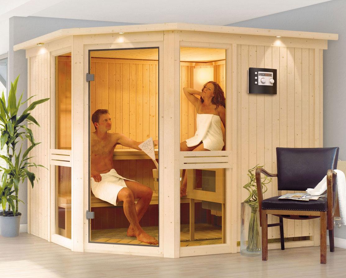 karibu sauna amelia3 68mm mit ofen 9kw extern classic t r. Black Bedroom Furniture Sets. Home Design Ideas