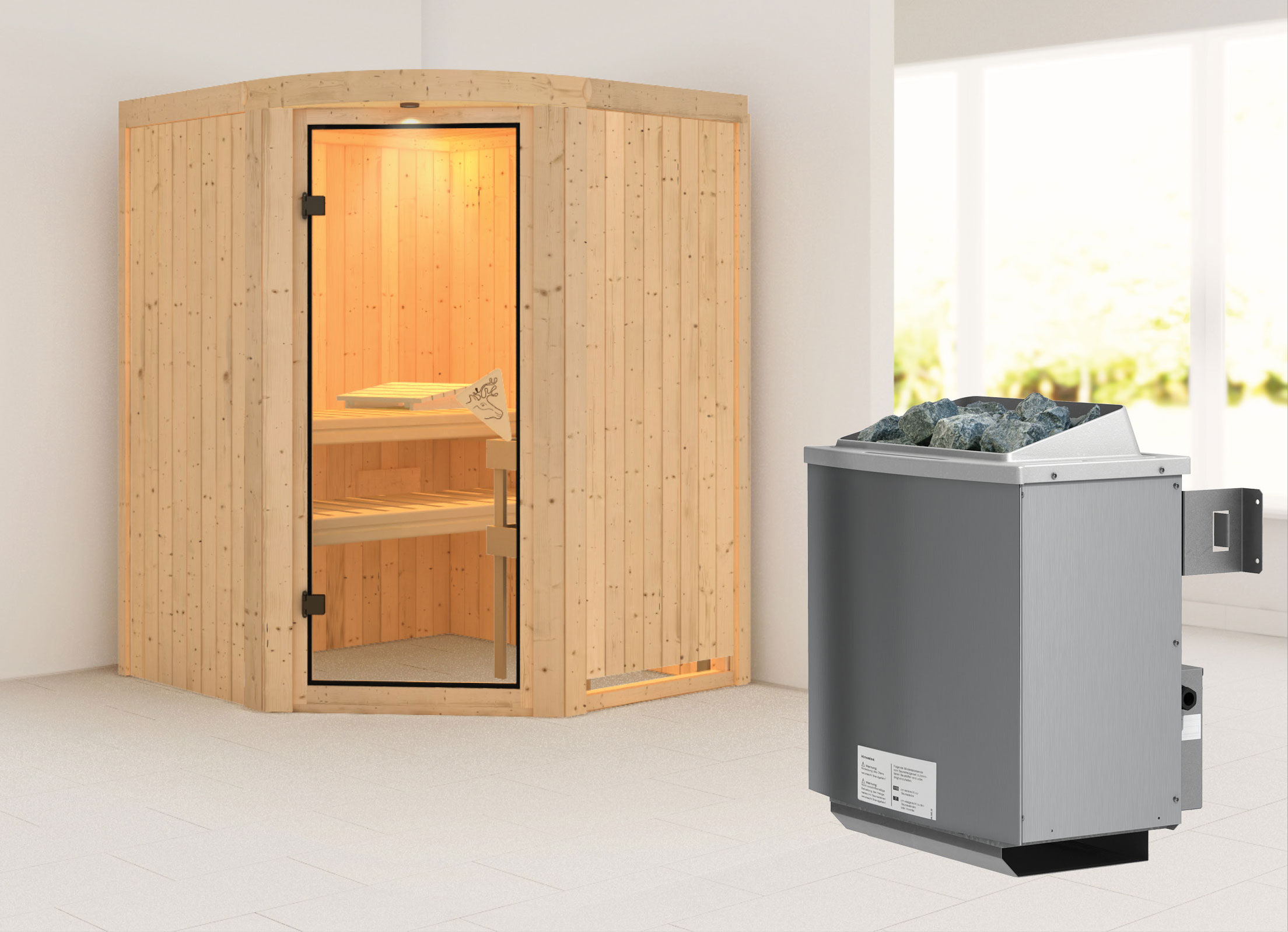karibu sauna asmada 68mm mit ofen 9kw intern classic t r bei. Black Bedroom Furniture Sets. Home Design Ideas