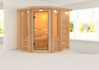 karibu sauna cortona 40mm dachkranz ohne ofen classic t r bild 1. Black Bedroom Furniture Sets. Home Design Ideas