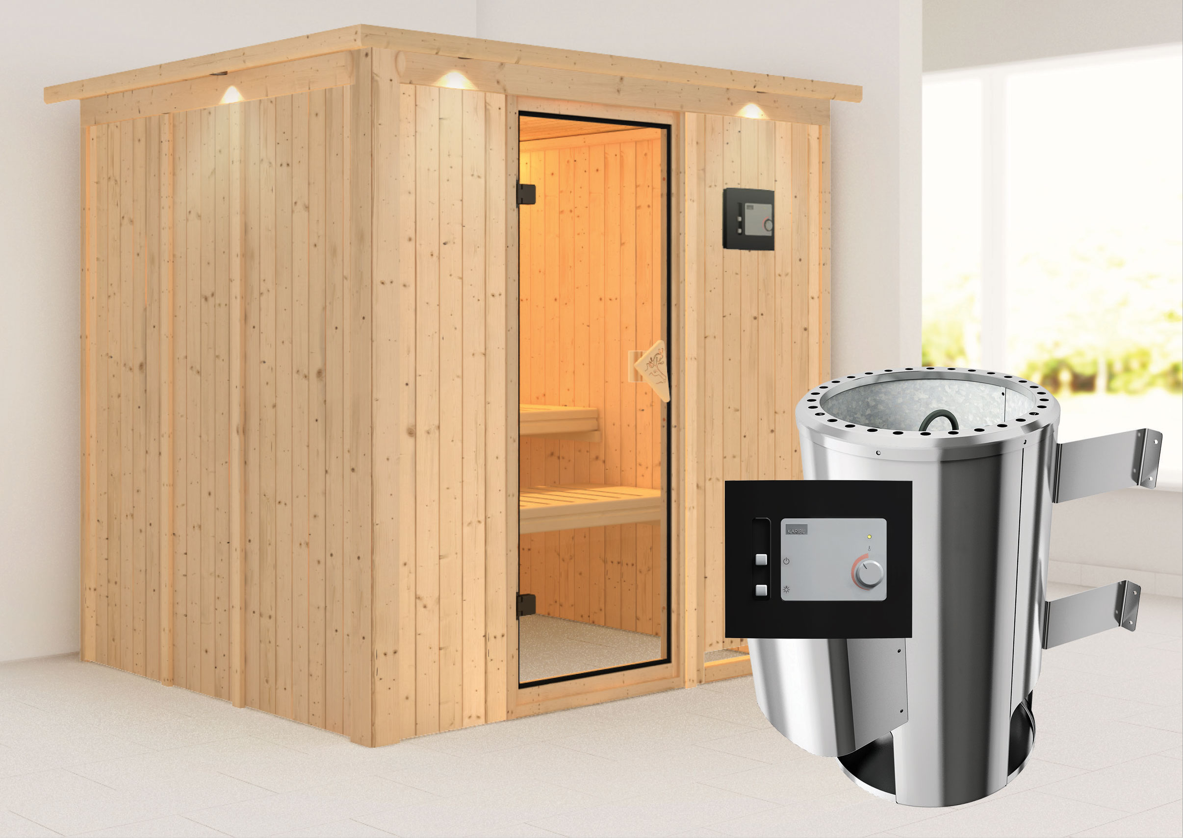 karibu sauna daria 230 volt mit dachkranz saunaofen 3 6 kw. Black Bedroom Furniture Sets. Home Design Ideas