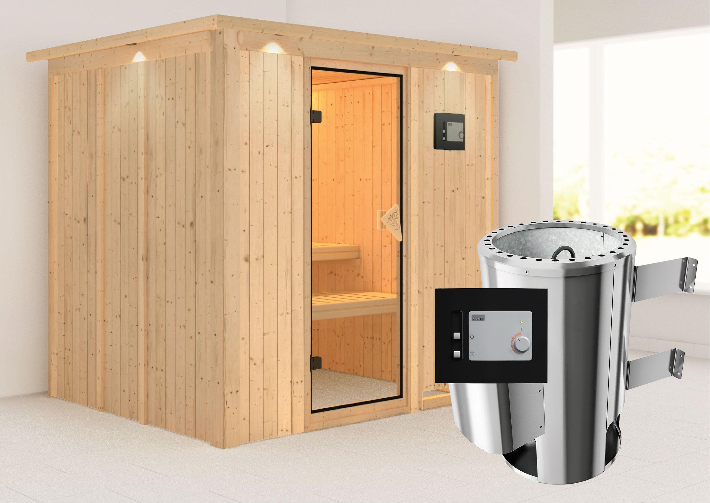 karibu sauna daria 68mm 230v dachkranz ofen 3 6kw extern classic t r bei. Black Bedroom Furniture Sets. Home Design Ideas
