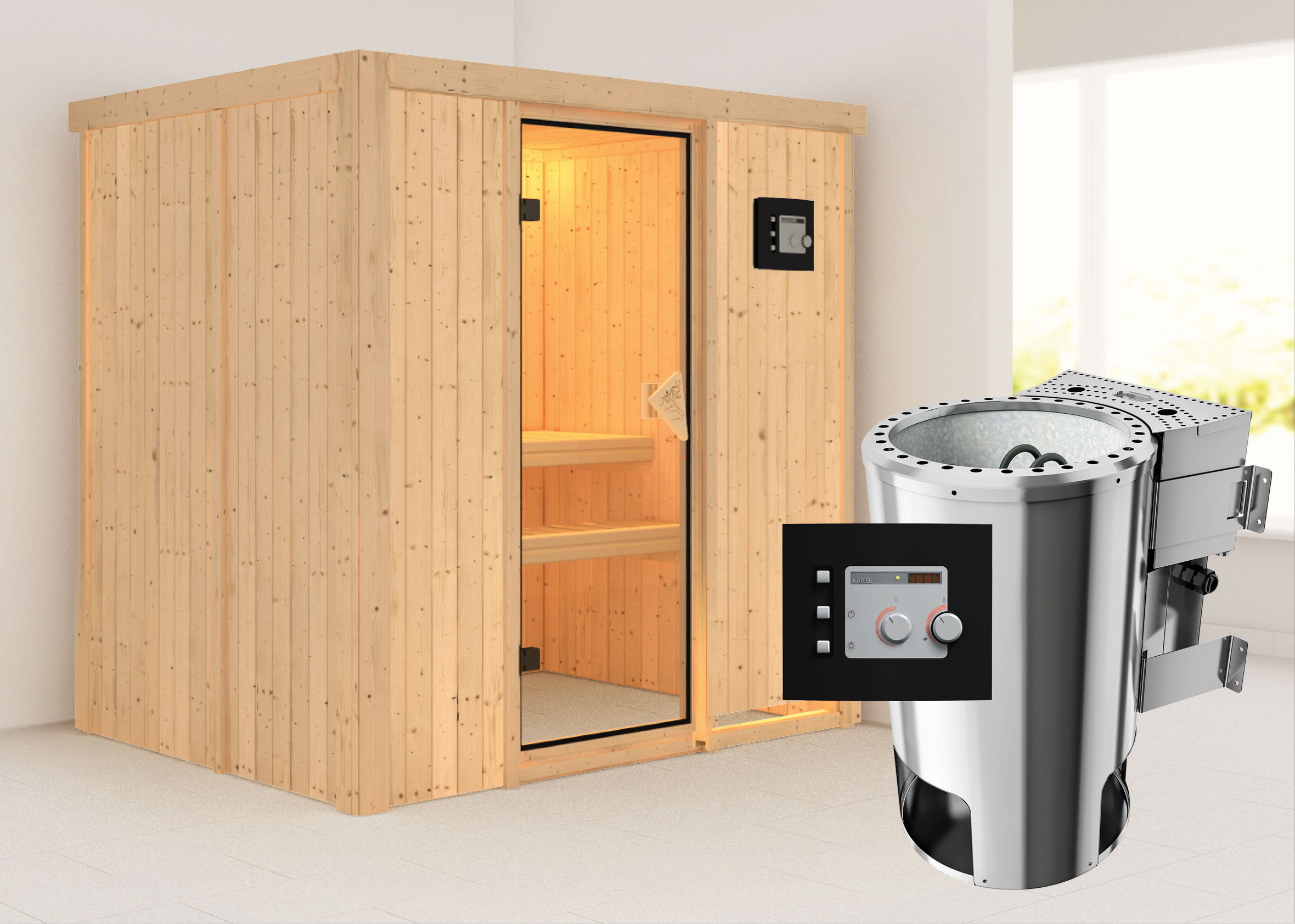 karibu sauna fanja 68mm 230v mit bio ofen 3 6 kw extern classic t r bei. Black Bedroom Furniture Sets. Home Design Ideas