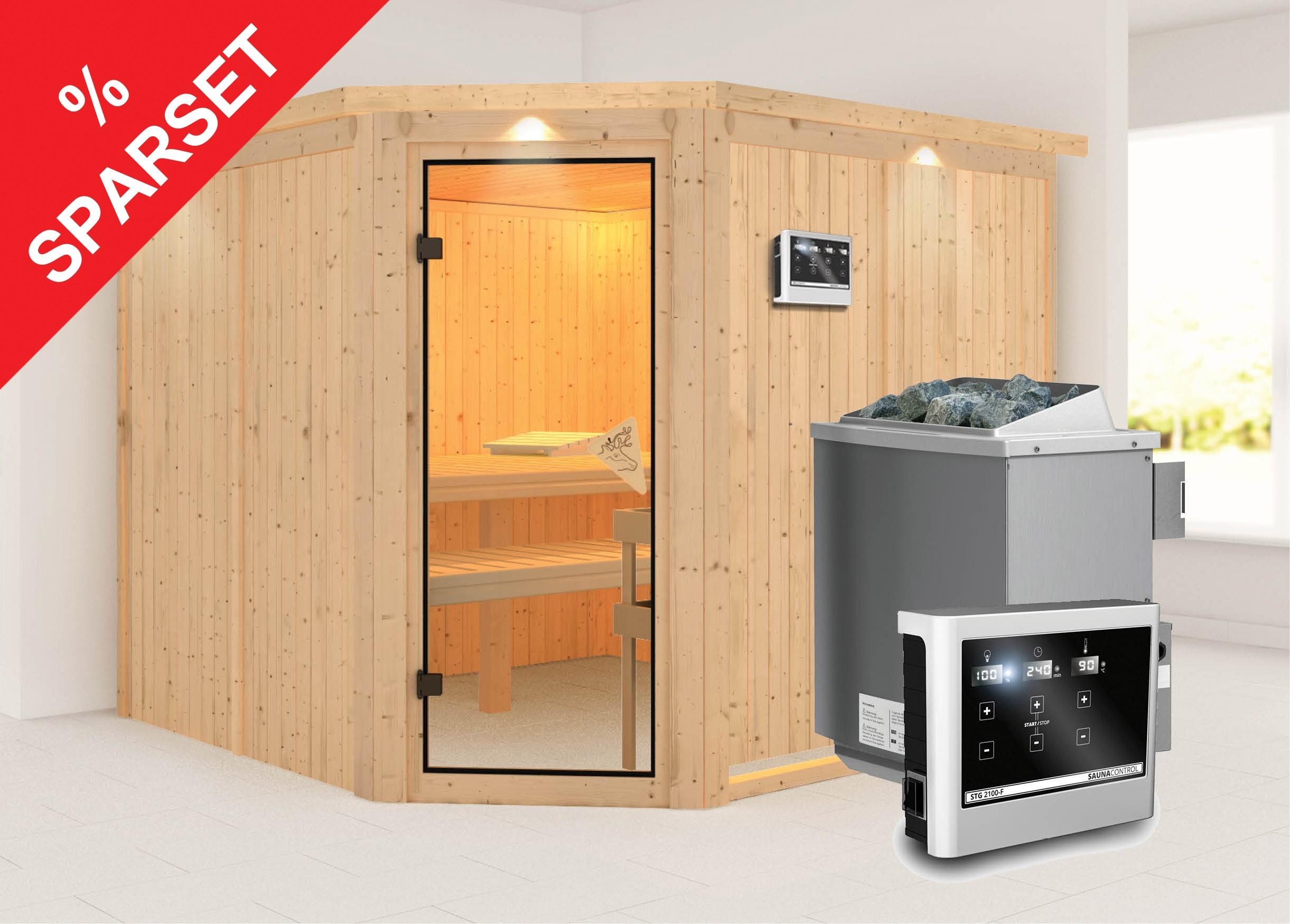 karibu sauna farin 68mm dachkranz bio ofen 9 kw extern. Black Bedroom Furniture Sets. Home Design Ideas