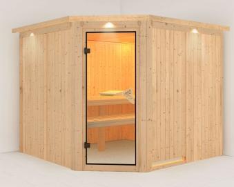 karibu sauna farin 68mm dachkranz ohne ofen classic t r bei. Black Bedroom Furniture Sets. Home Design Ideas