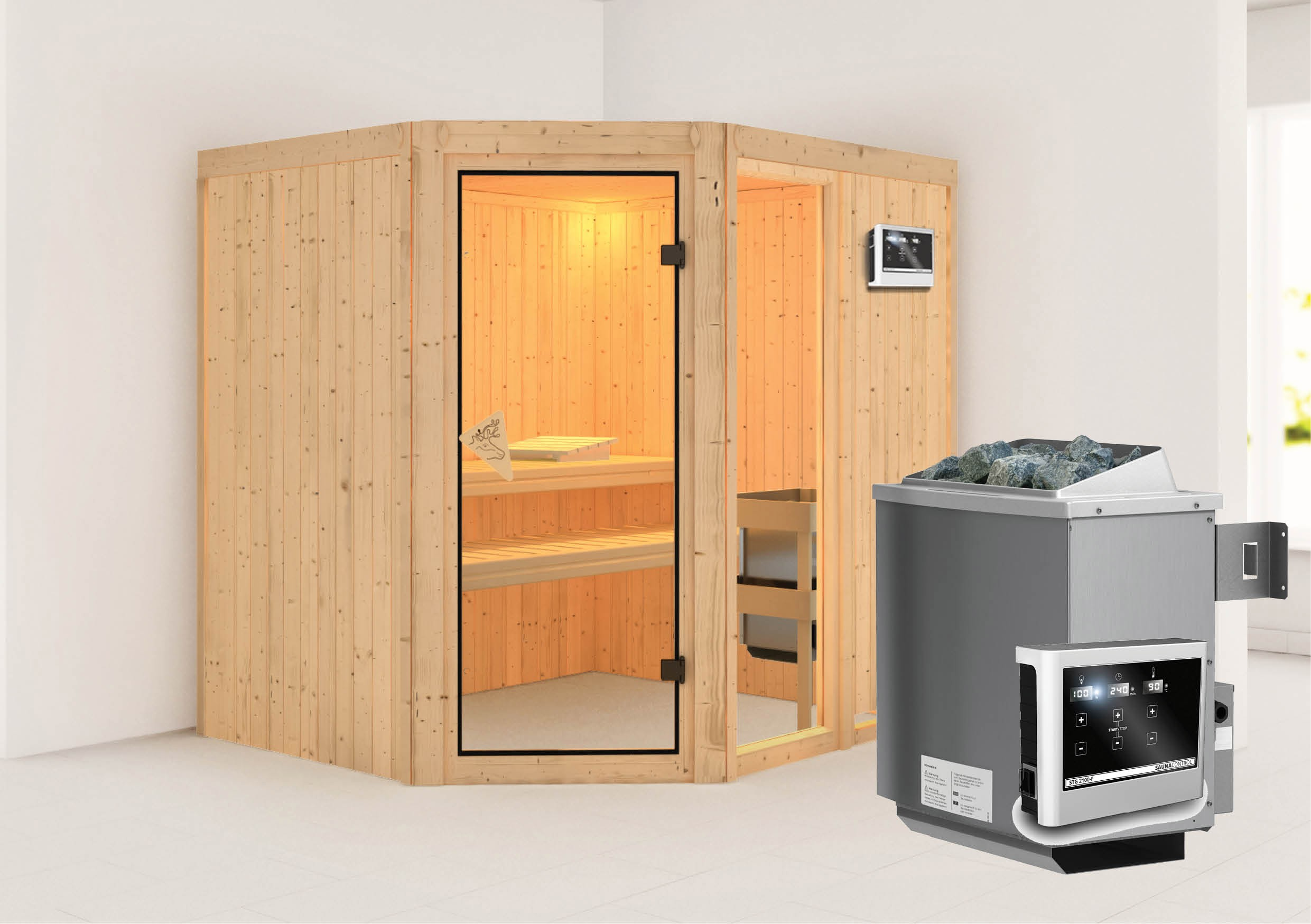 karibu sauna fiona2 68mm mit ofen 9kw extern classic t r bei. Black Bedroom Furniture Sets. Home Design Ideas