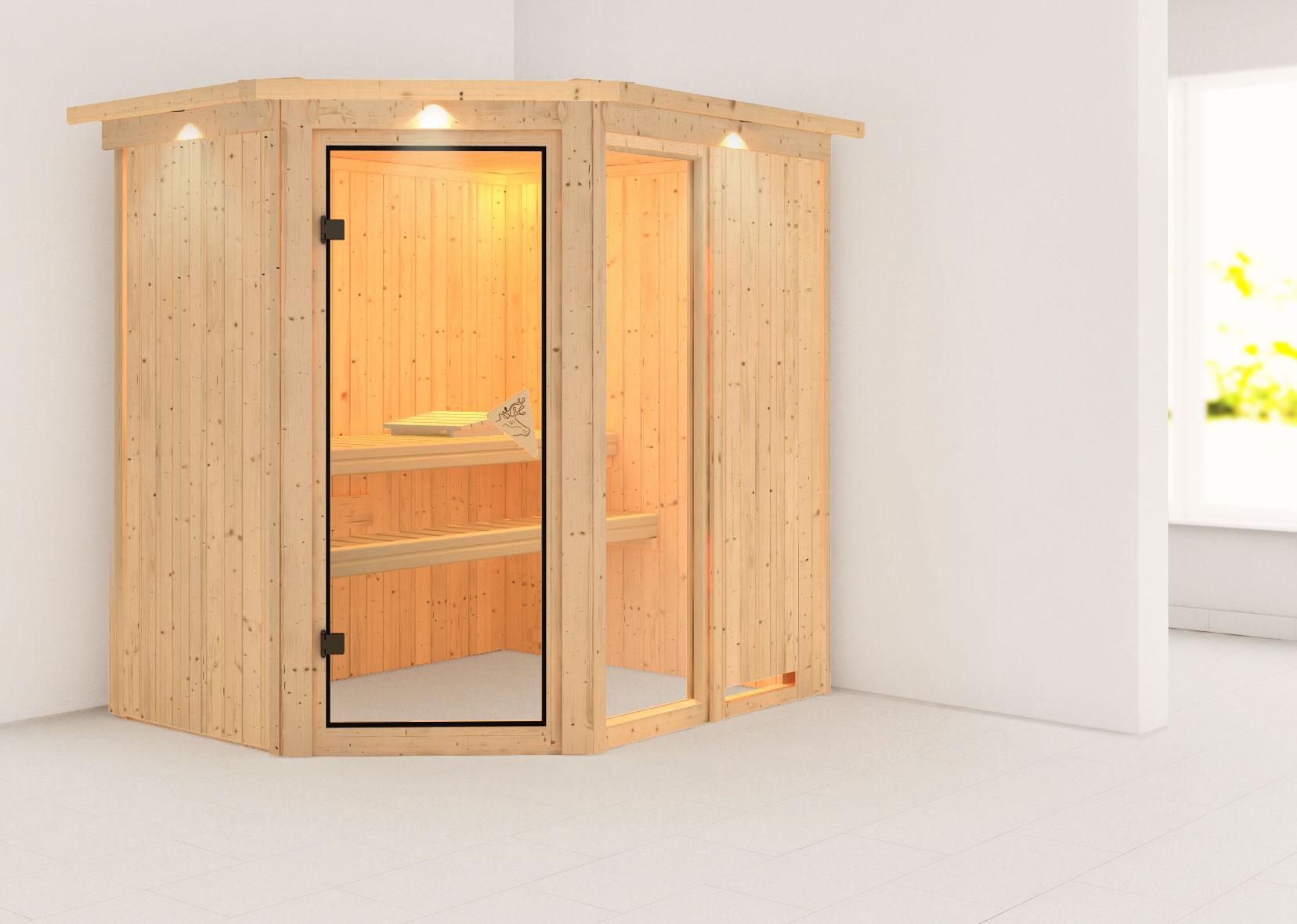 karibu sauna fiona1 68mm dachkranz ohne ofen classic t r bei. Black Bedroom Furniture Sets. Home Design Ideas