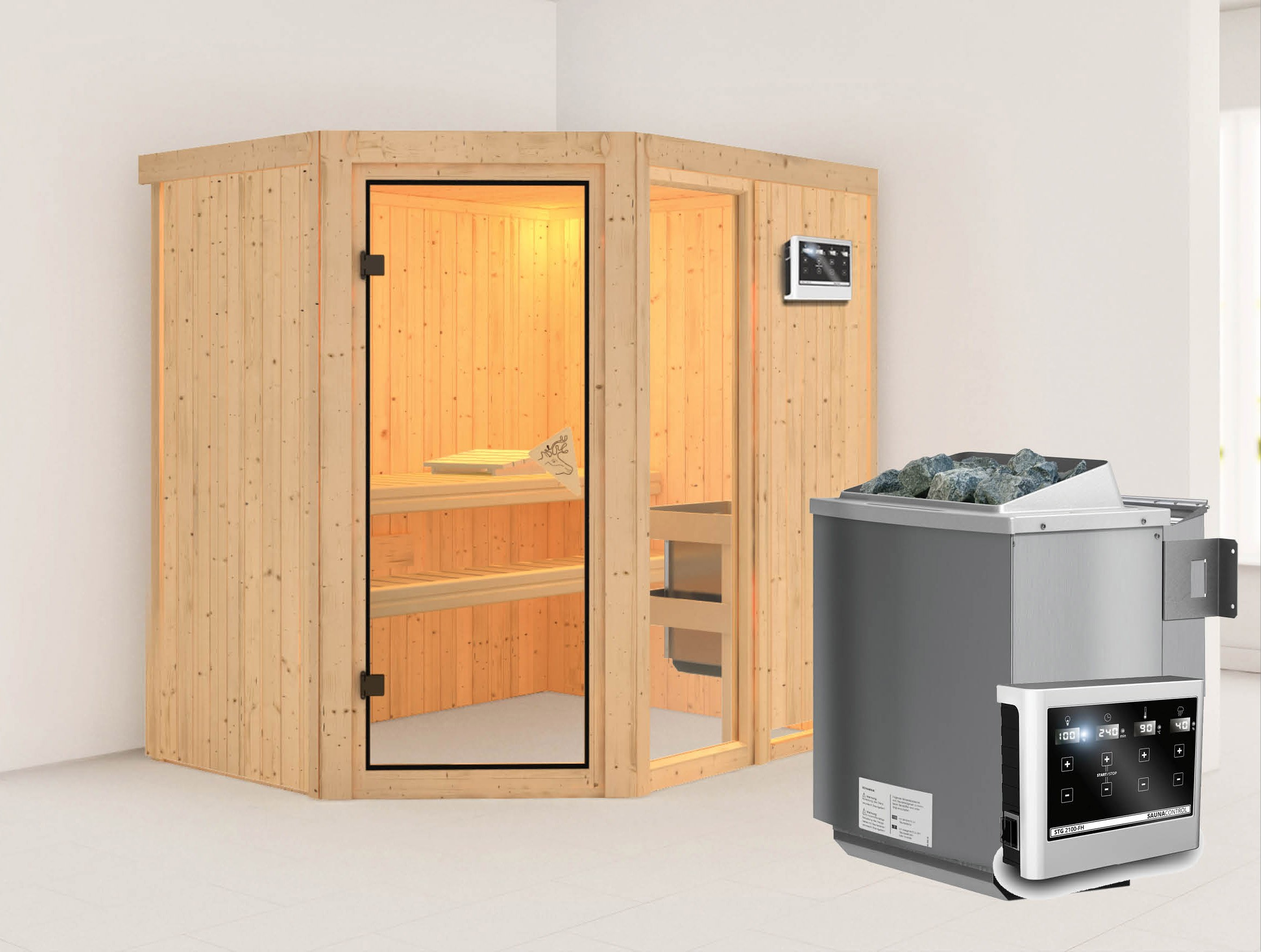 karibu sauna fiona1 68mm mit bio ofen 9kw extern classic. Black Bedroom Furniture Sets. Home Design Ideas