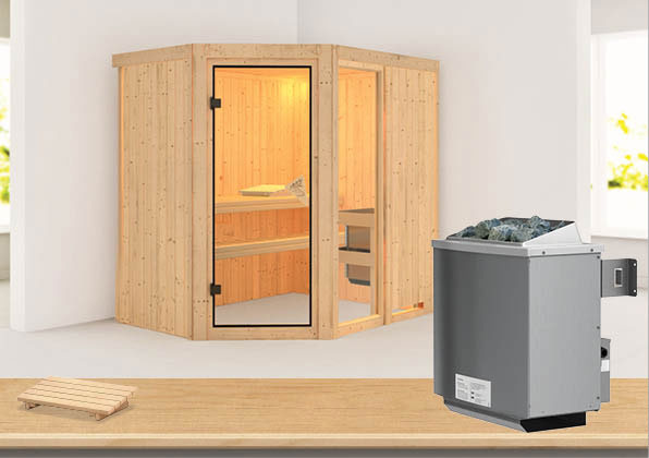 karibu sauna fiona1 68mm mit ofen 9kw intern classic t r bei. Black Bedroom Furniture Sets. Home Design Ideas