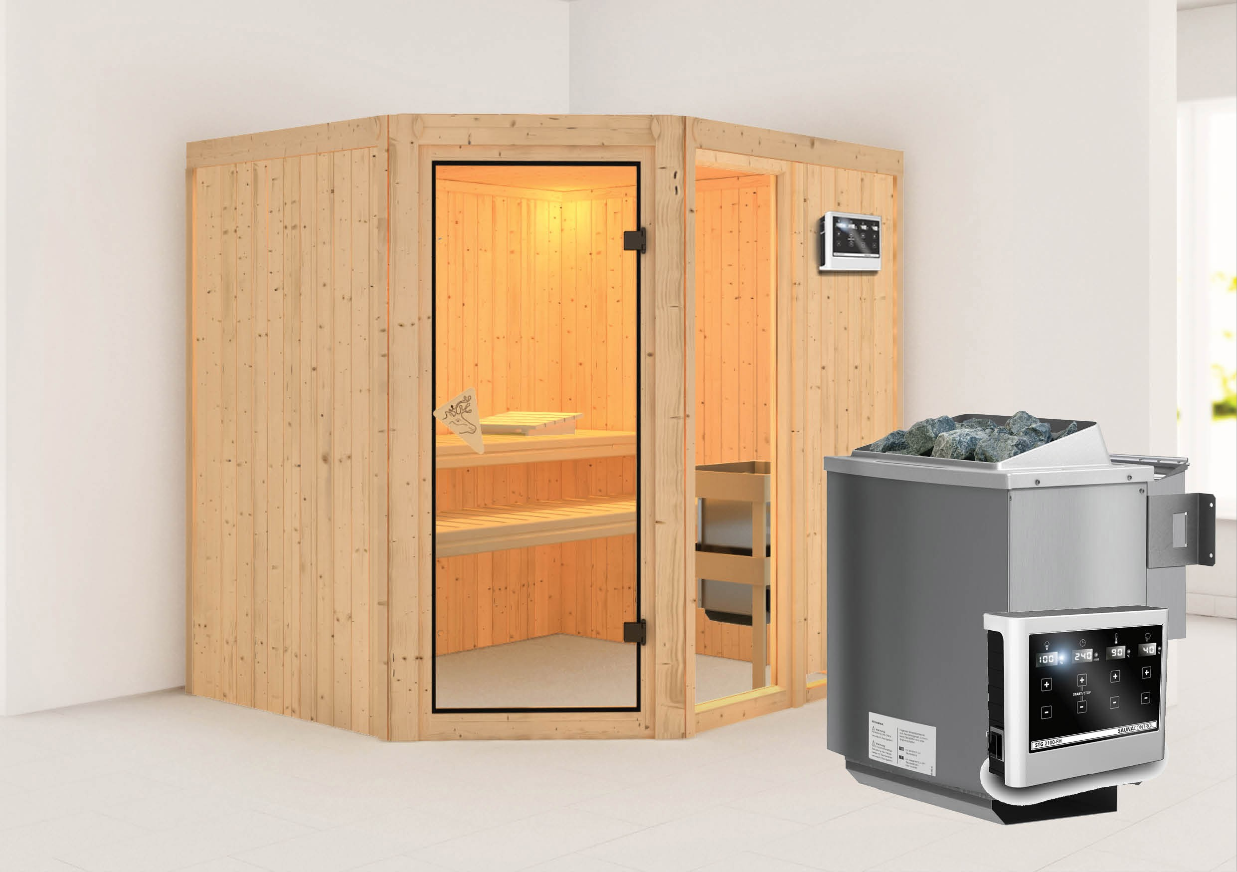 karibu sauna fiona2 68mm mit bio ofen 9kw extern classic t r bei. Black Bedroom Furniture Sets. Home Design Ideas