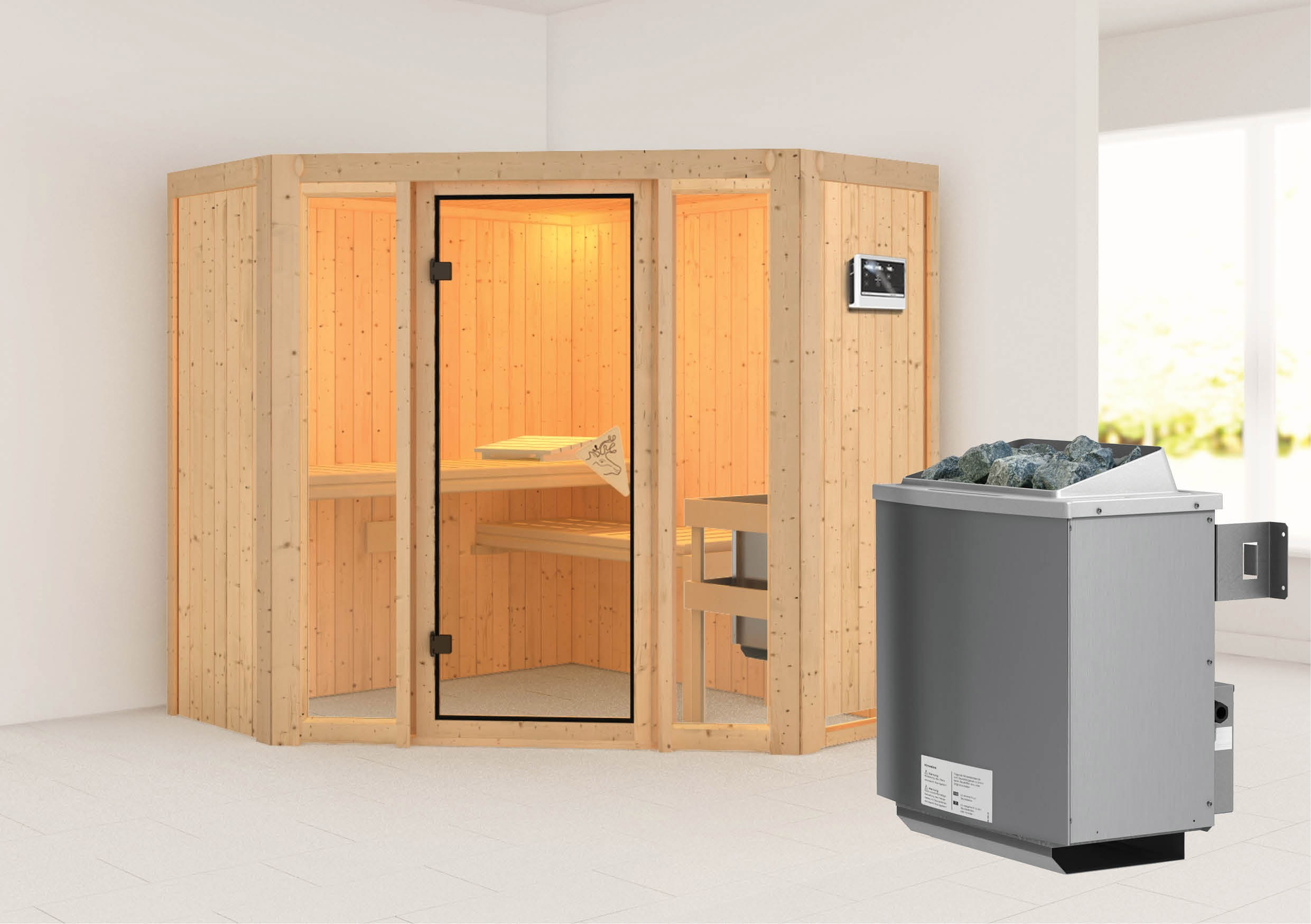 karibu sauna flora1 68mm mit ofen 9kw extern classic t r bild 1. Black Bedroom Furniture Sets. Home Design Ideas
