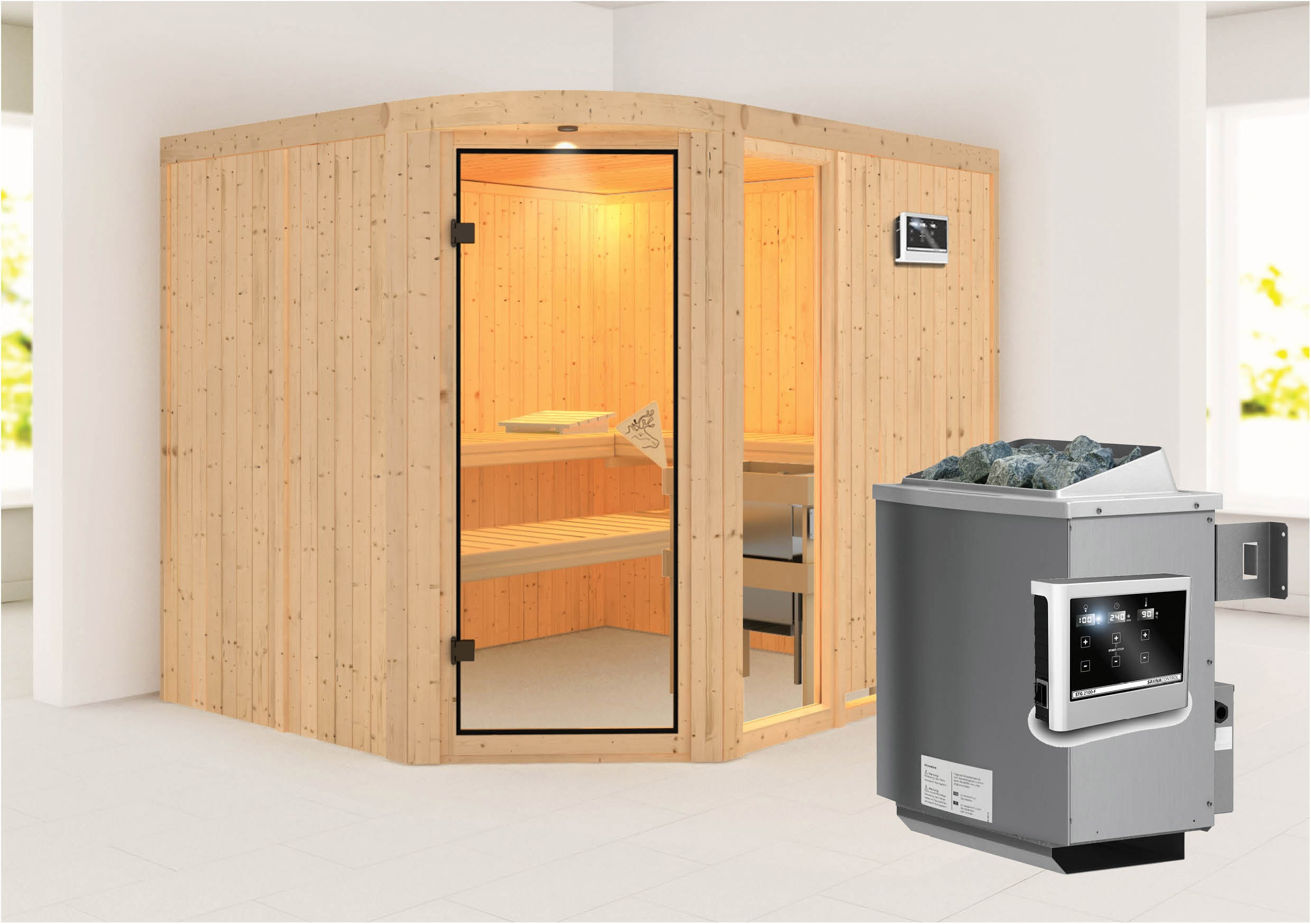 karibu sauna lakura 68mm mit ofen 9kw extern classic t r bei. Black Bedroom Furniture Sets. Home Design Ideas