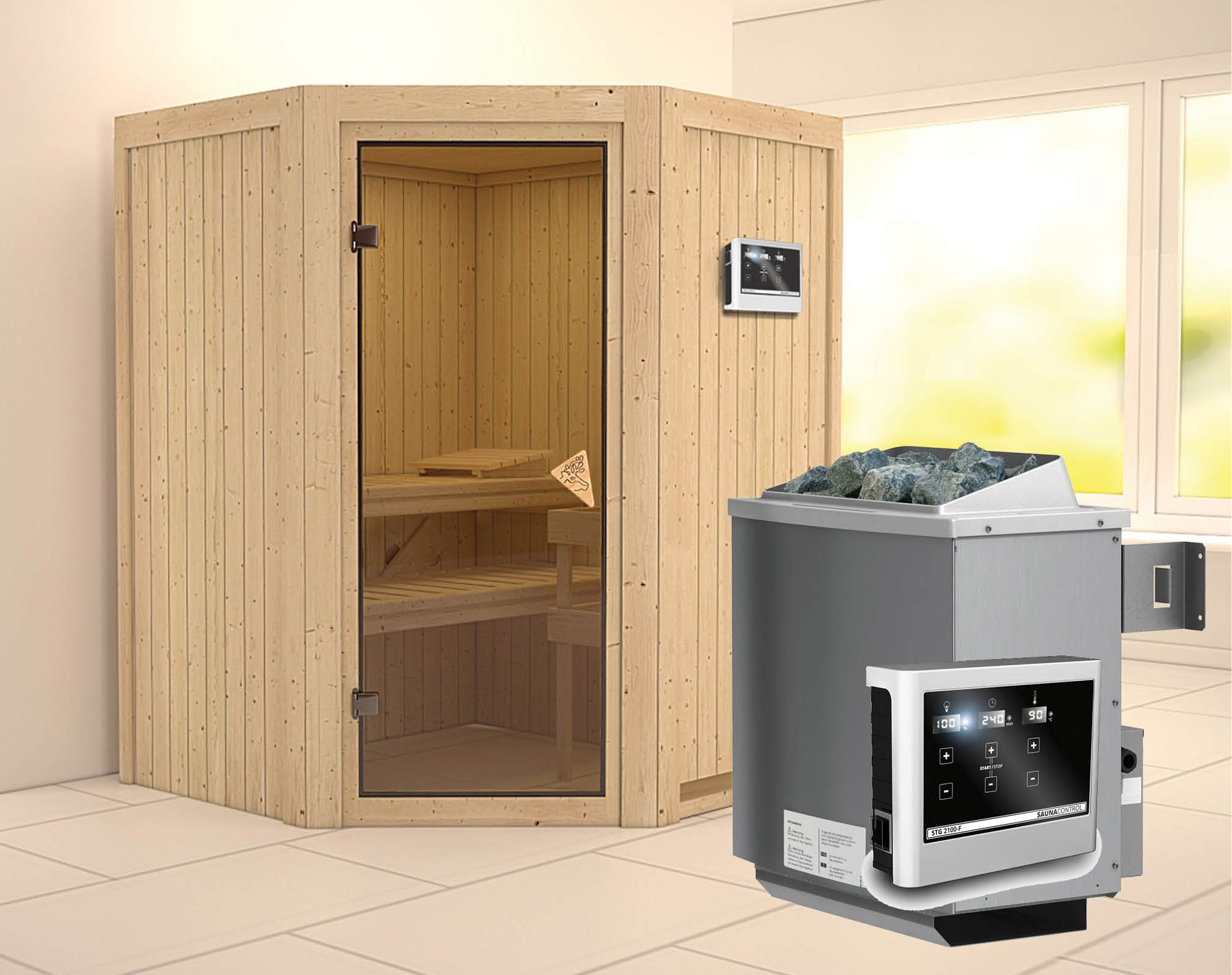 karibu sauna larin 68mm mit ofen 9kw extern classic t r bei. Black Bedroom Furniture Sets. Home Design Ideas