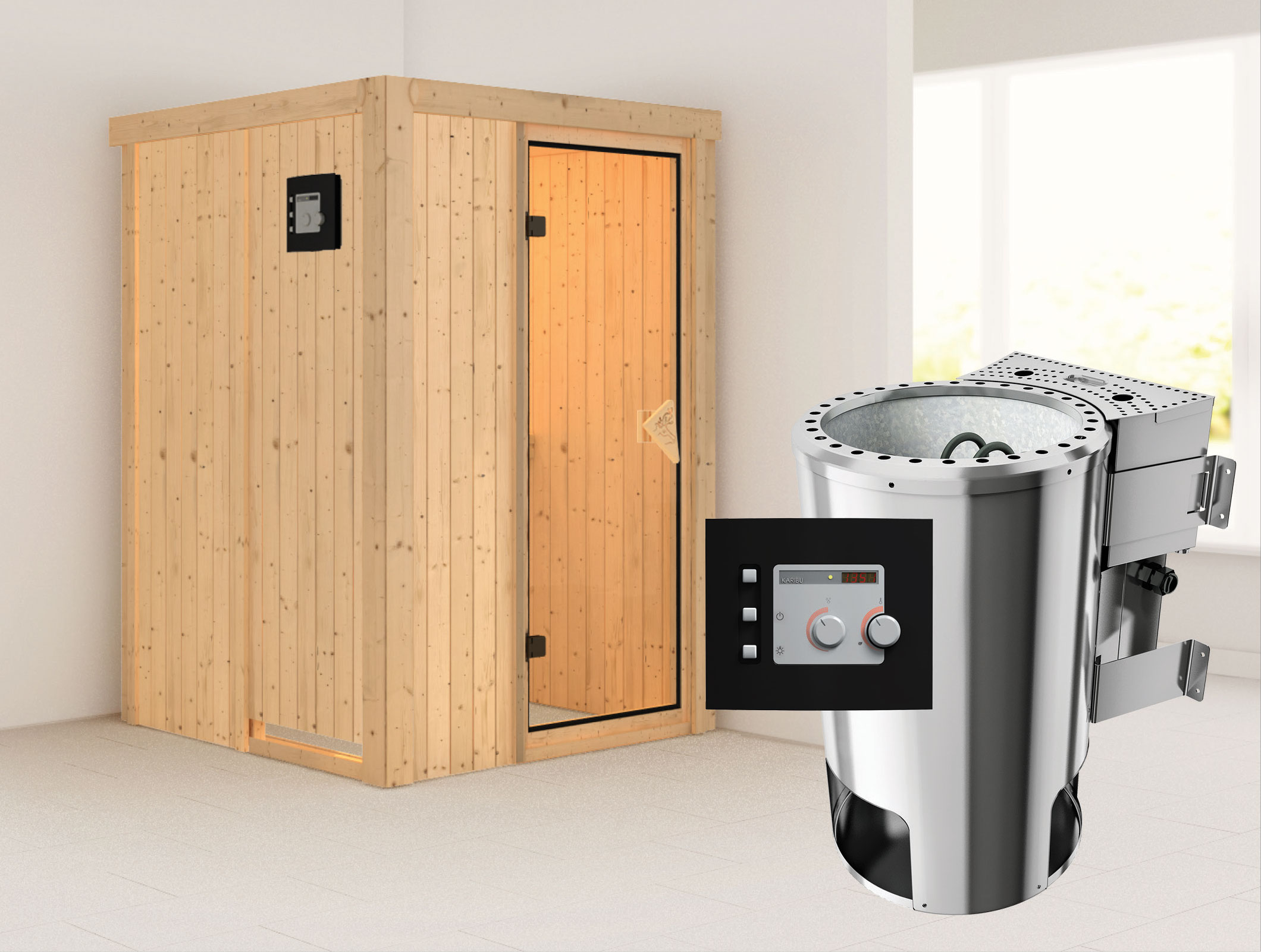 karibu sauna lenja 68mm 230v mit bio ofen 3 6kw extern classic t r bei. Black Bedroom Furniture Sets. Home Design Ideas