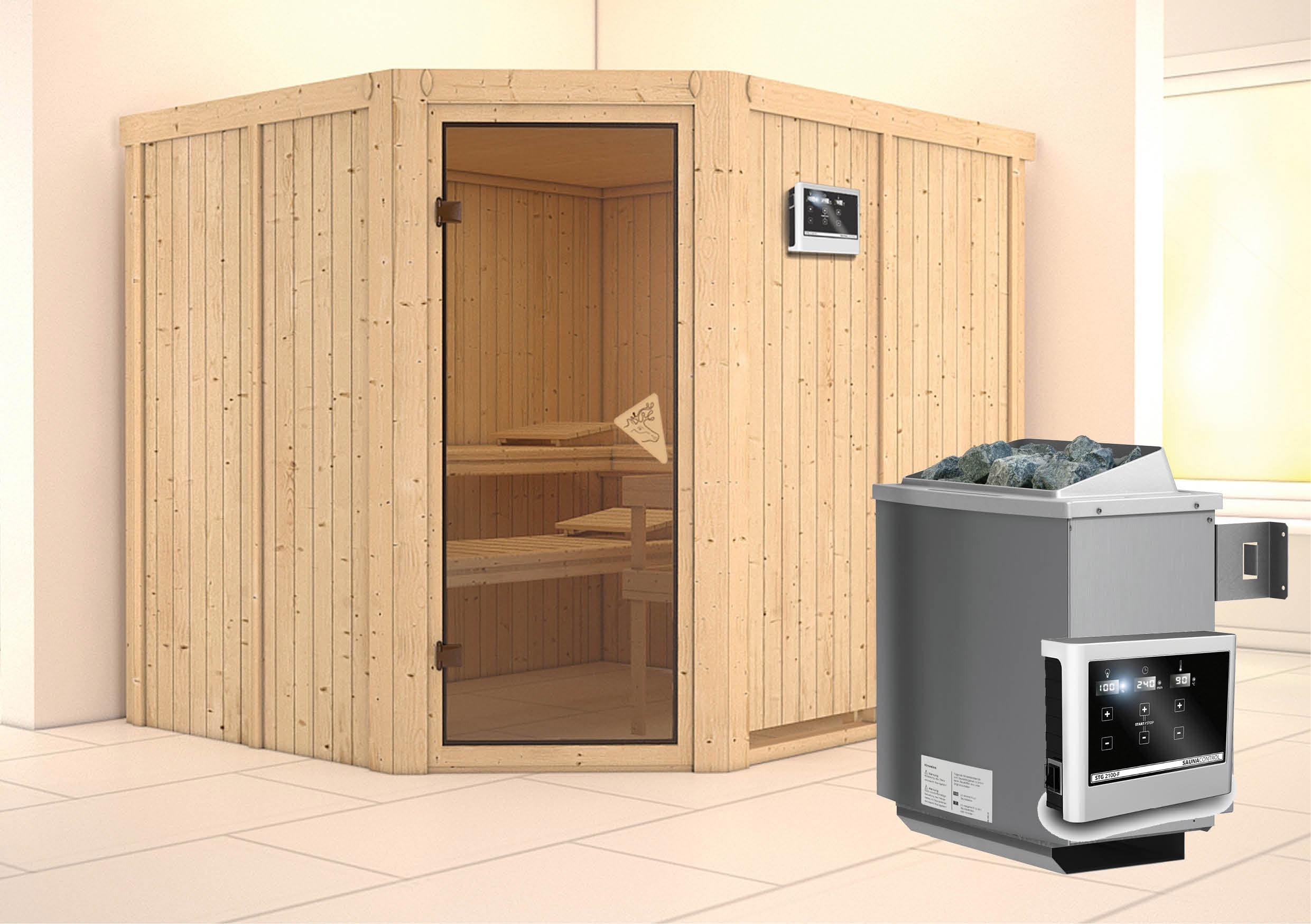 karibu sauna malin 68mm mit ofen 9kw extern classic t r bei. Black Bedroom Furniture Sets. Home Design Ideas