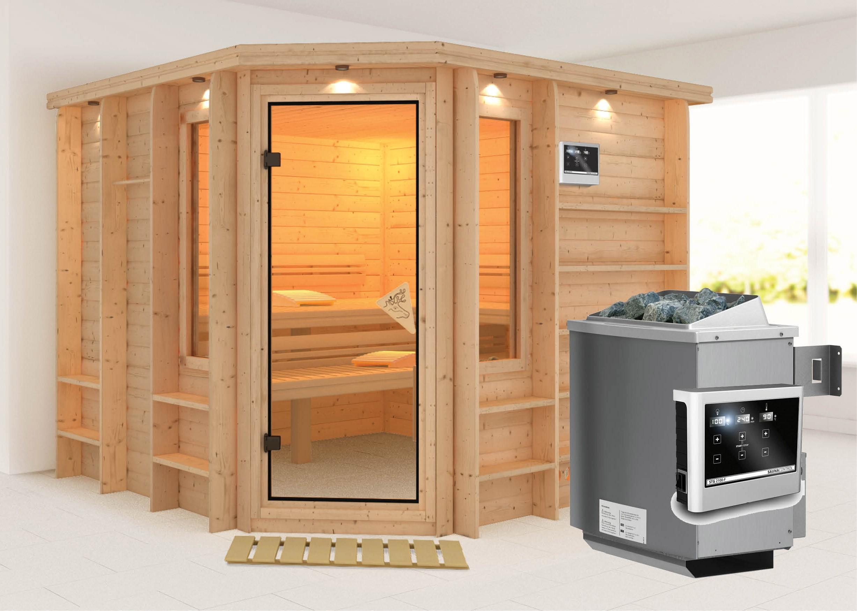 karibu sauna marona 40mm mit ofen 9kw extern classic t r bei. Black Bedroom Furniture Sets. Home Design Ideas