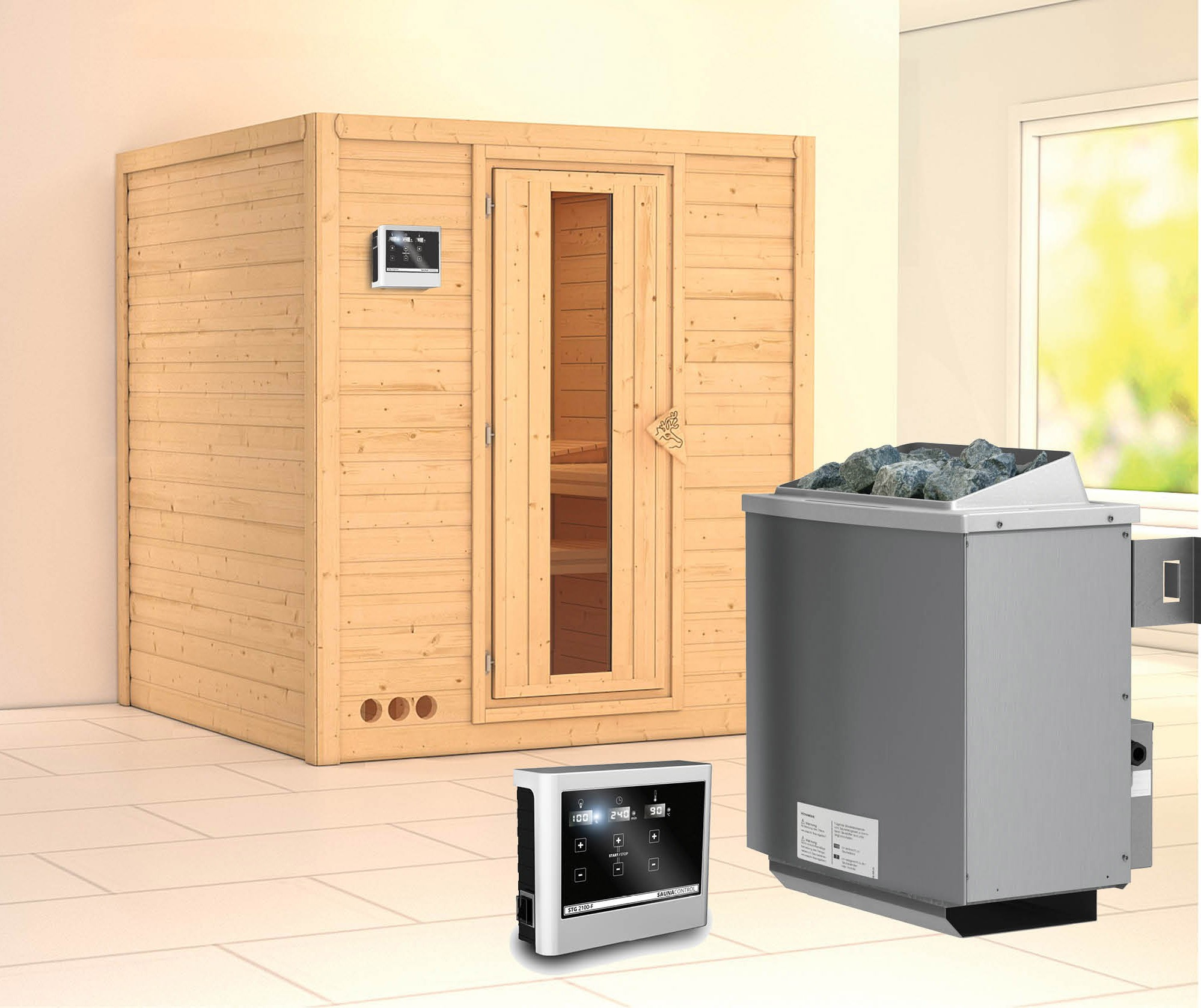 karibu sauna mojave 40mm mit ofen 9kw extern holzt r bei. Black Bedroom Furniture Sets. Home Design Ideas