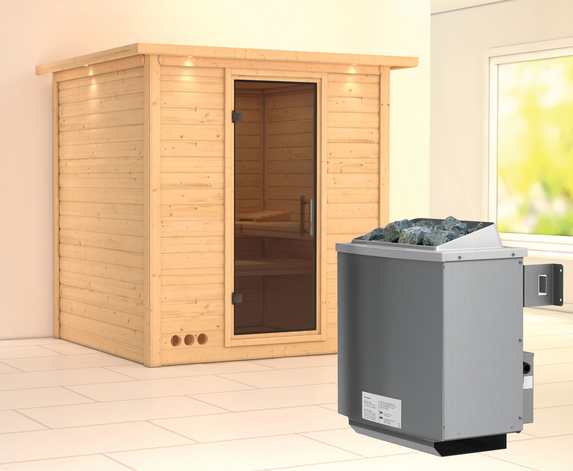 karibu sauna mojave modern mit dachkranz saunaofen 9kw. Black Bedroom Furniture Sets. Home Design Ideas