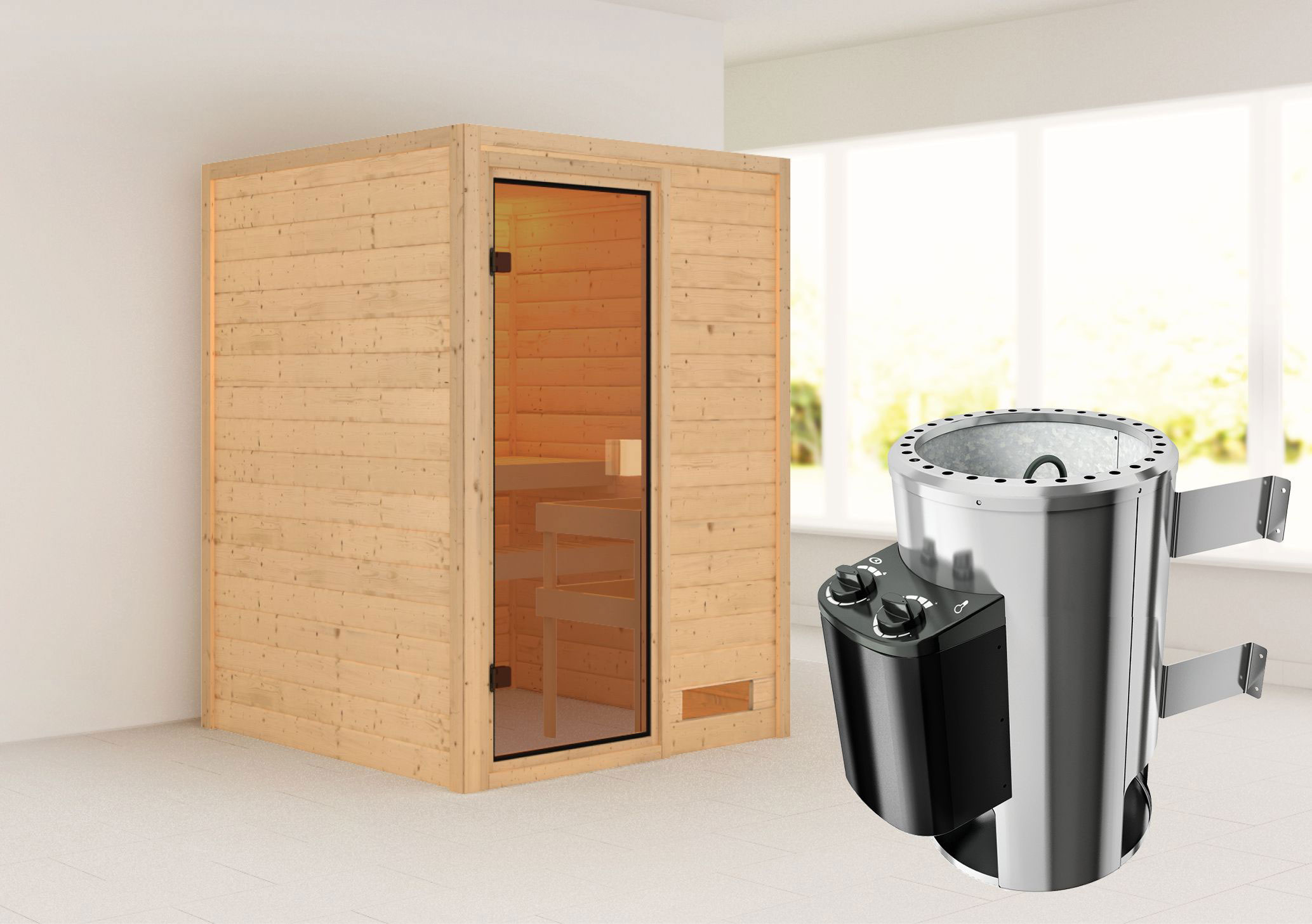 karibu sauna nadja 230 volt mit saunaofen 3 6kw intern. Black Bedroom Furniture Sets. Home Design Ideas