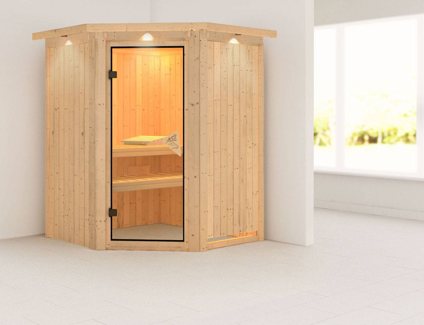 karibu sauna nanja 230 volt mit dachkranz ohne saunaofen. Black Bedroom Furniture Sets. Home Design Ideas