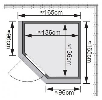 karibu sauna nanja 230 volt mit dachkranz ohne saunaofen bei. Black Bedroom Furniture Sets. Home Design Ideas