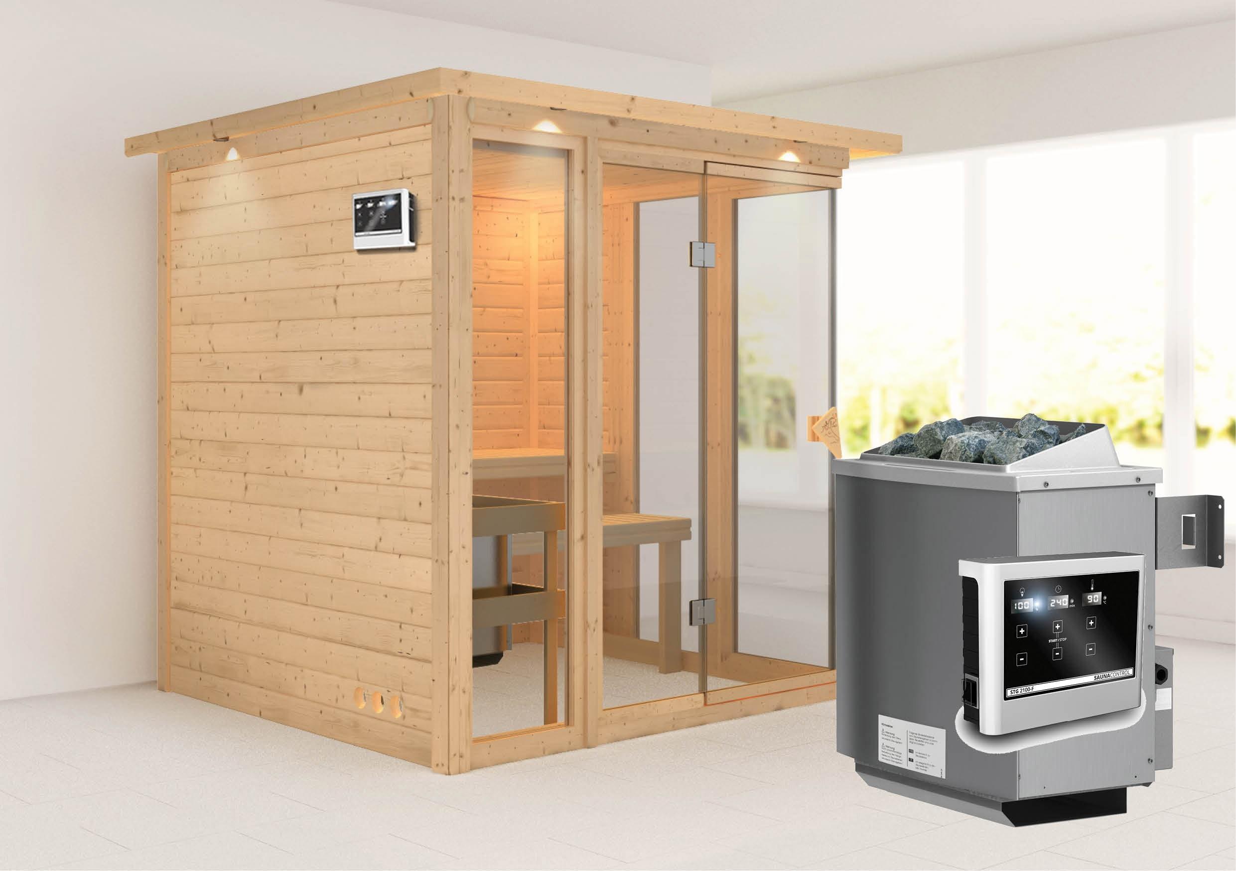 karibu sauna paavo 40mm dachkranz ofen 9kw extern. Black Bedroom Furniture Sets. Home Design Ideas