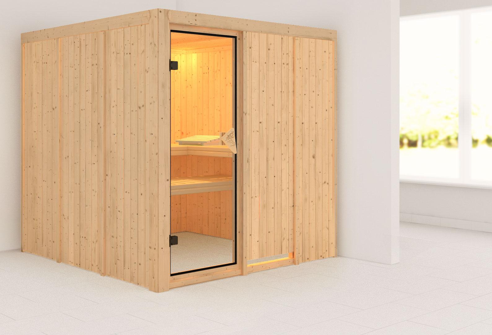 karibu sauna rodin 68mm ohne ofen classic t r bei. Black Bedroom Furniture Sets. Home Design Ideas