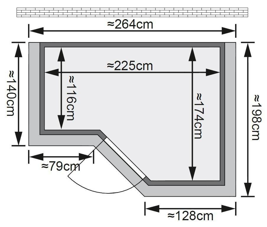 karibu sauna sahib 2 massivholz 40mm mit dachkranz. Black Bedroom Furniture Sets. Home Design Ideas