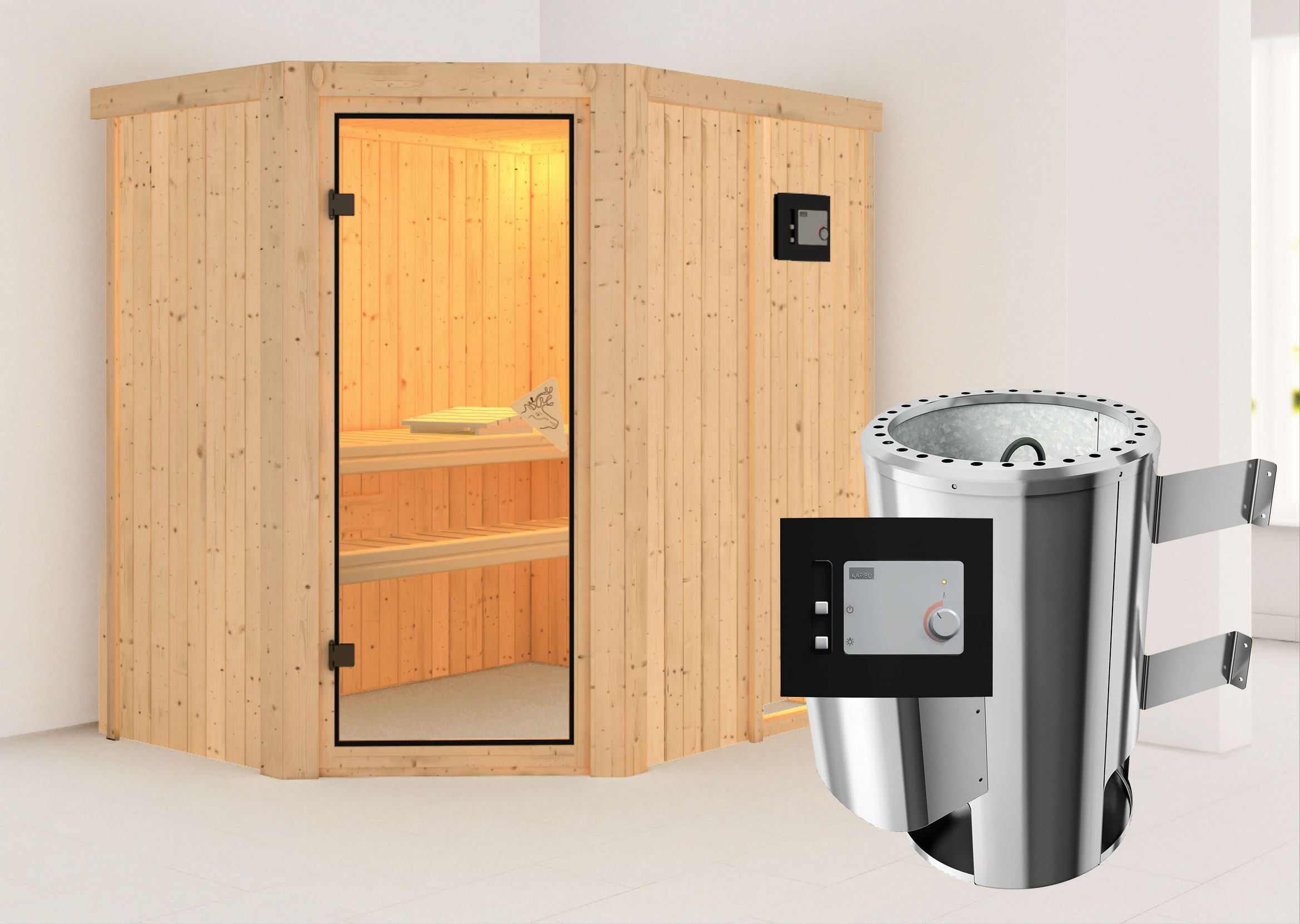 karibu sauna saja 230 volt mit saunaofen 3 6kw extern. Black Bedroom Furniture Sets. Home Design Ideas