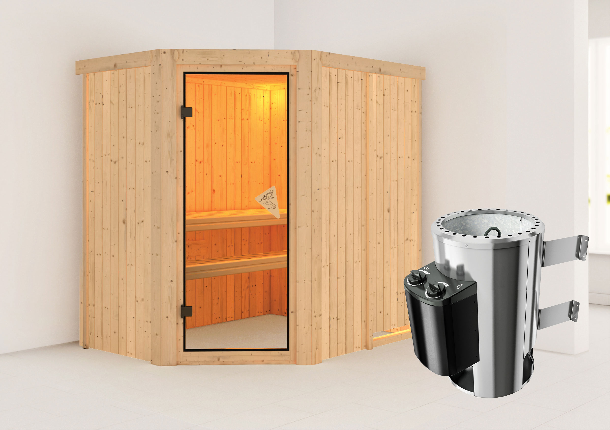 karibu sauna saja 68mm 230v mit ofen 3 6kw intern classic t r bei. Black Bedroom Furniture Sets. Home Design Ideas