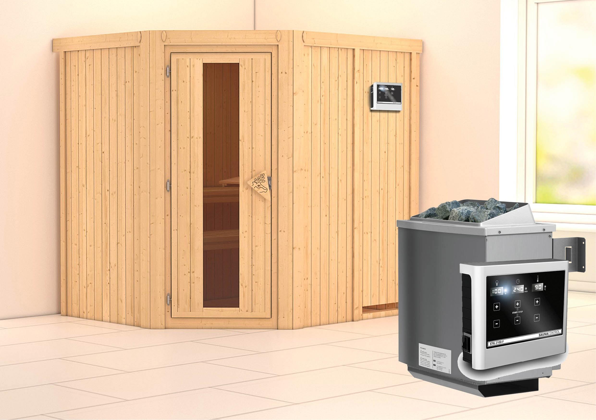 karibu sauna siirin 68mm mit ofen 9kw extern holzt r bei. Black Bedroom Furniture Sets. Home Design Ideas