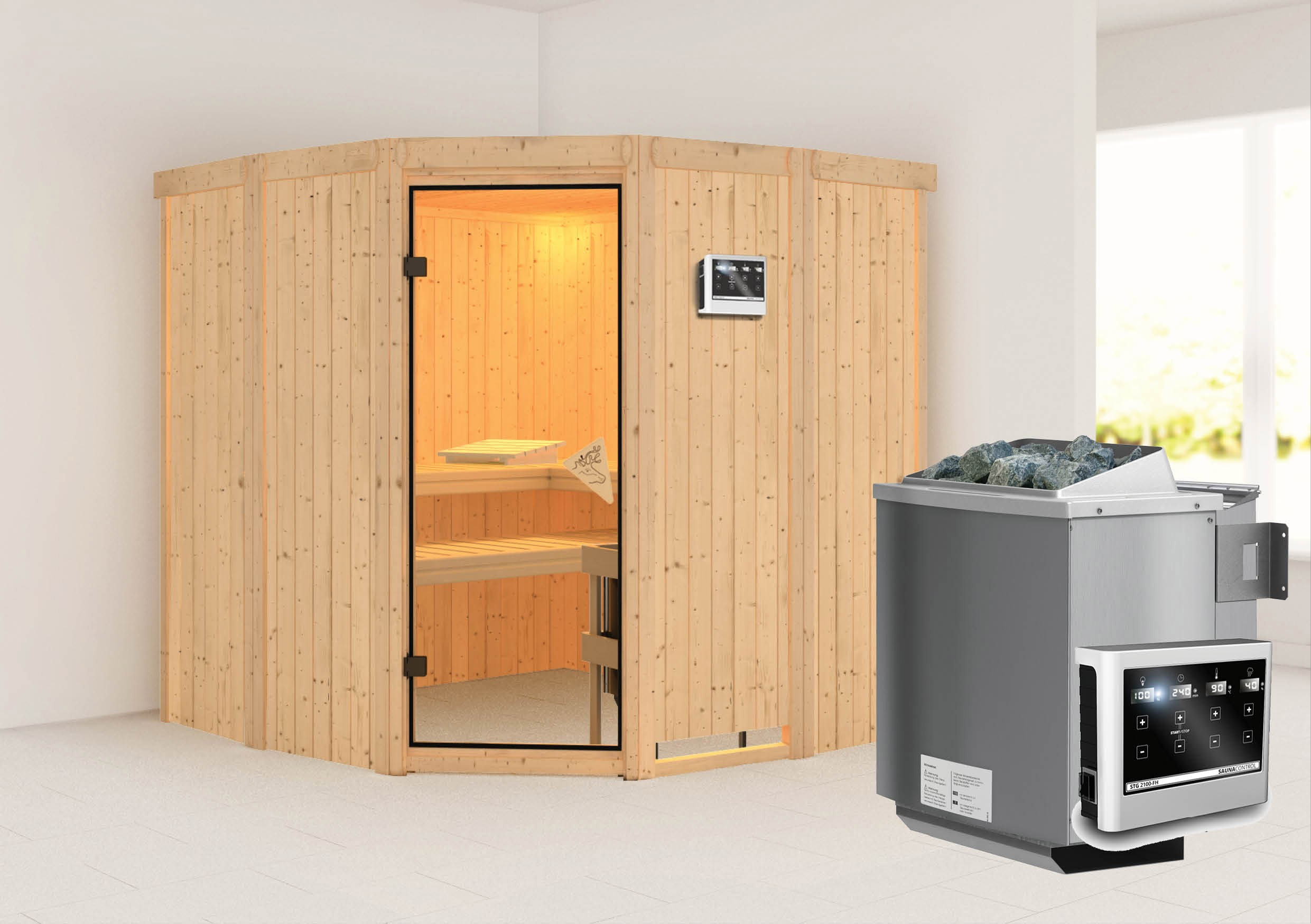 karibu sauna simara1 68mm mit bio ofen 9kw extern classic. Black Bedroom Furniture Sets. Home Design Ideas