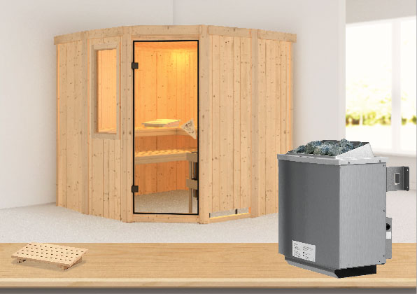 karibu sauna simara1 68mm fenster ofen 9kw intern classic t r bei. Black Bedroom Furniture Sets. Home Design Ideas