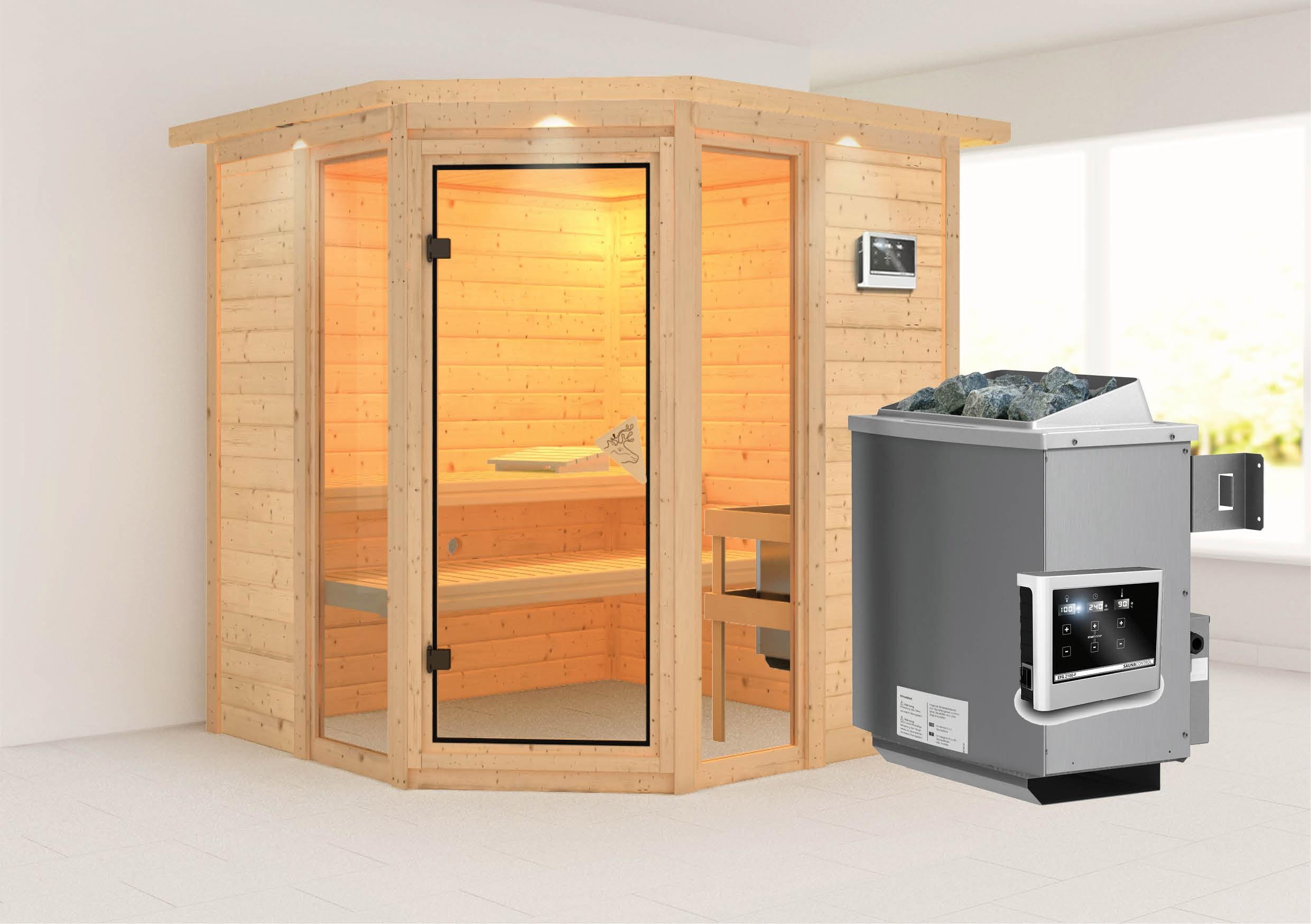 karibu sauna sinai 2 massivholz 40mm mit dachkranz. Black Bedroom Furniture Sets. Home Design Ideas