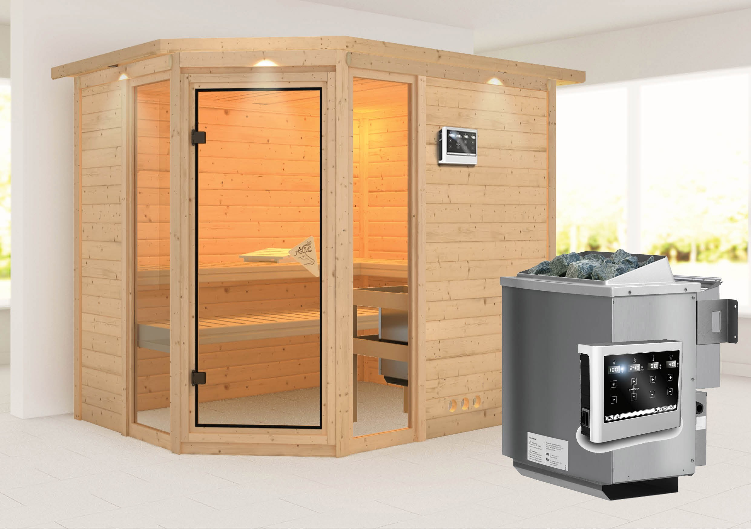 karibu sauna sinai3 40mm dachkranz bio ofen 9kw extern classic t r bei. Black Bedroom Furniture Sets. Home Design Ideas
