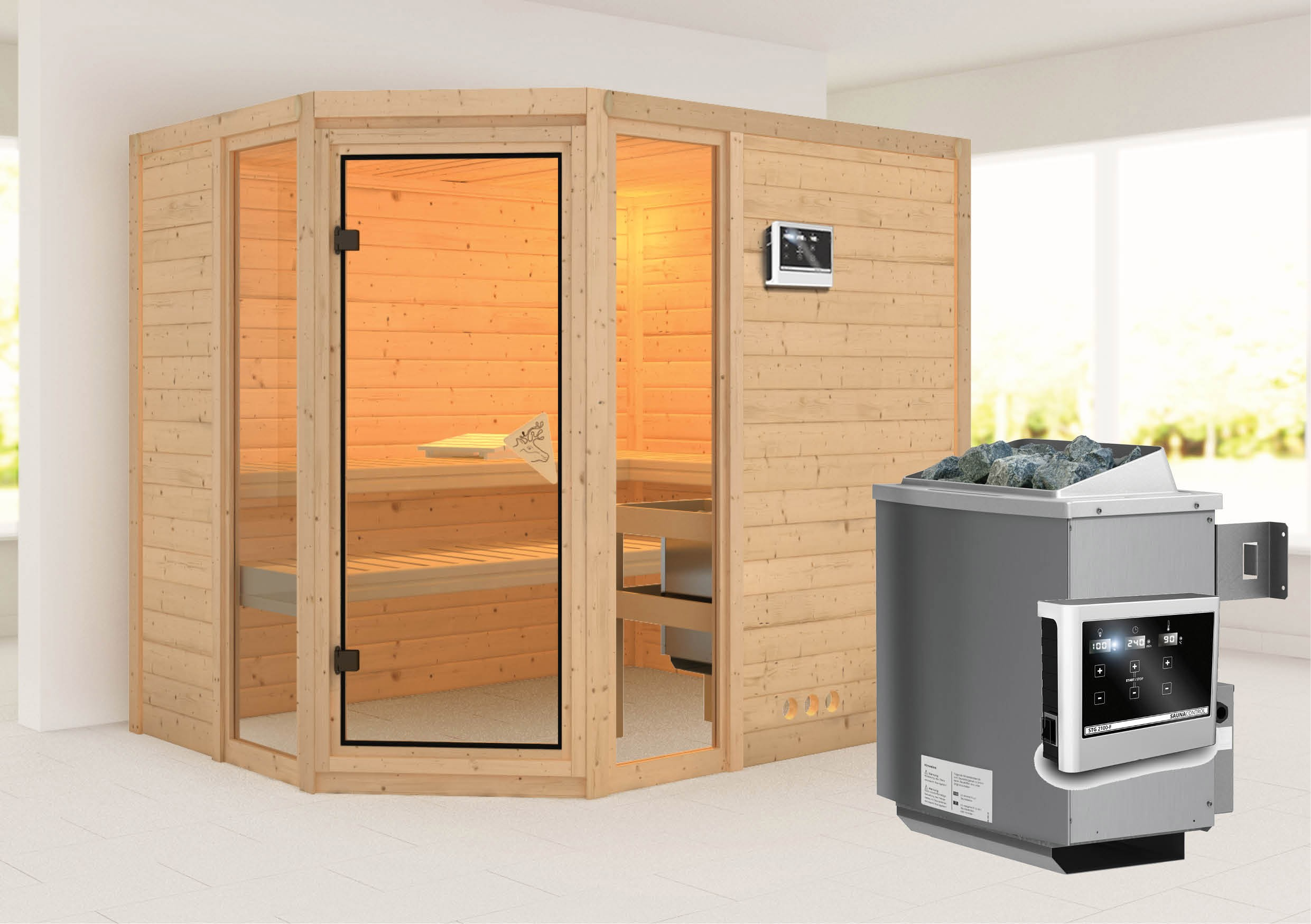 karibu sauna sinai 3 massivholz 40mm mit saunaofen 9kw bei. Black Bedroom Furniture Sets. Home Design Ideas