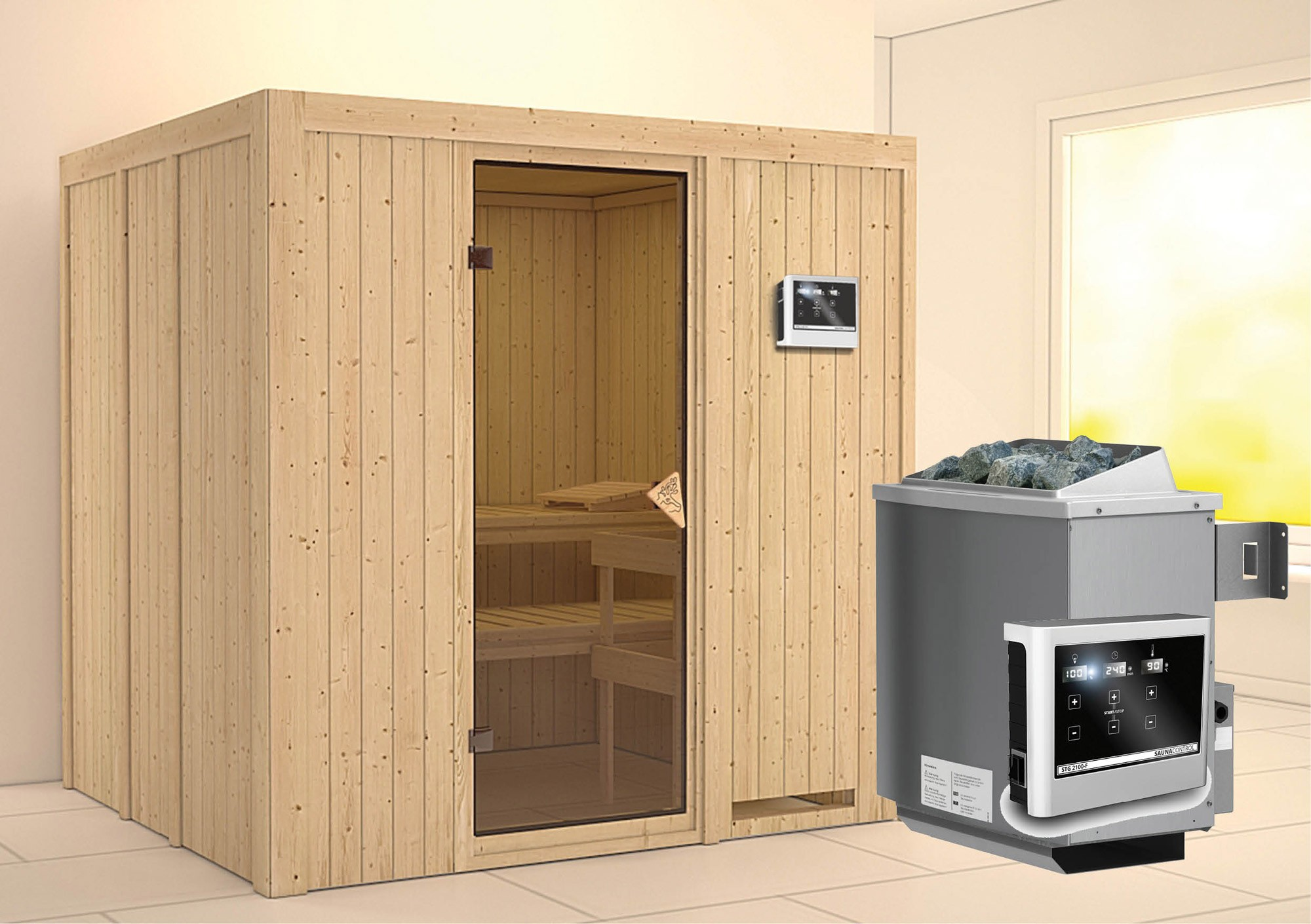 karibu sauna sodin 68mm mit ofen 9kw extern classic t r bei. Black Bedroom Furniture Sets. Home Design Ideas