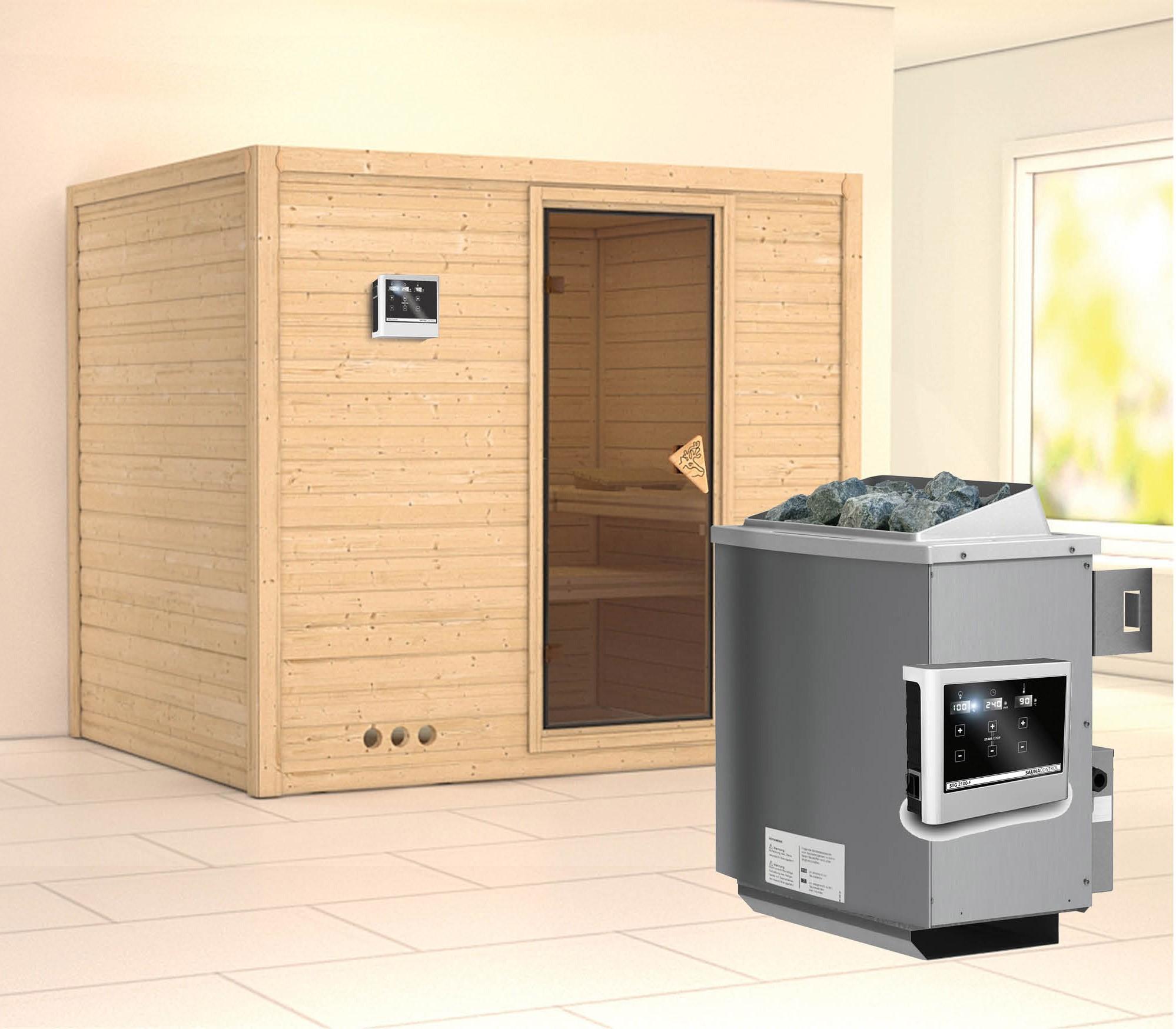karibu sauna sonara 40mm mit ofen 9kw extern bei. Black Bedroom Furniture Sets. Home Design Ideas