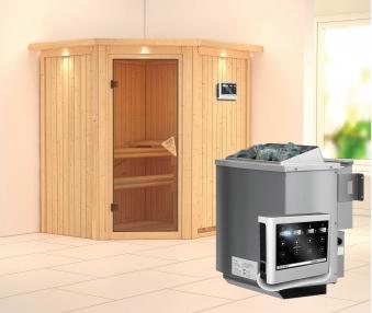 karibu sauna taurin 68mm dachkranz bio ofen 9kw extern classic t r bei. Black Bedroom Furniture Sets. Home Design Ideas