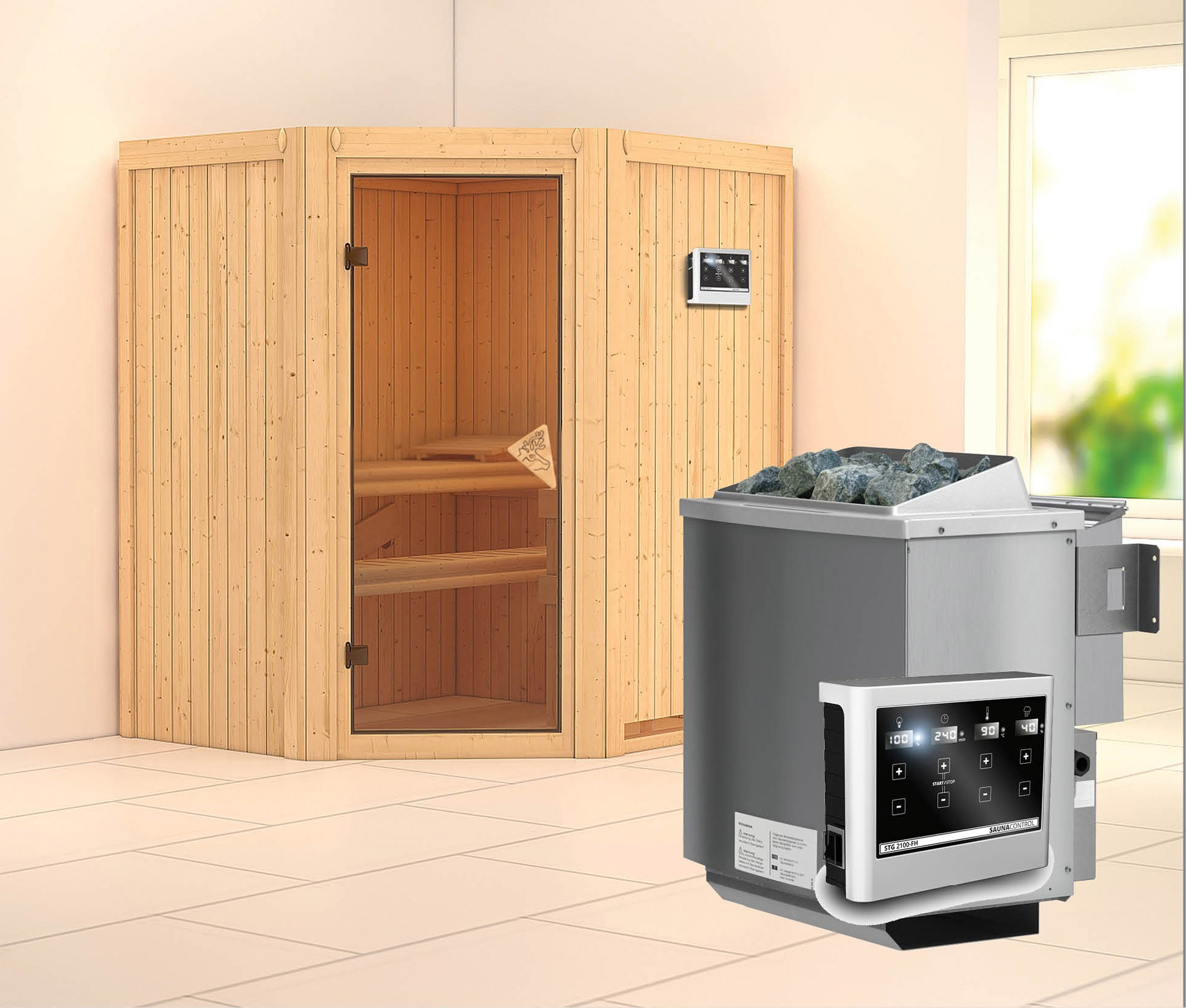 karibu sauna taurin 68mm mit bio ofen 9kw extern classic. Black Bedroom Furniture Sets. Home Design Ideas