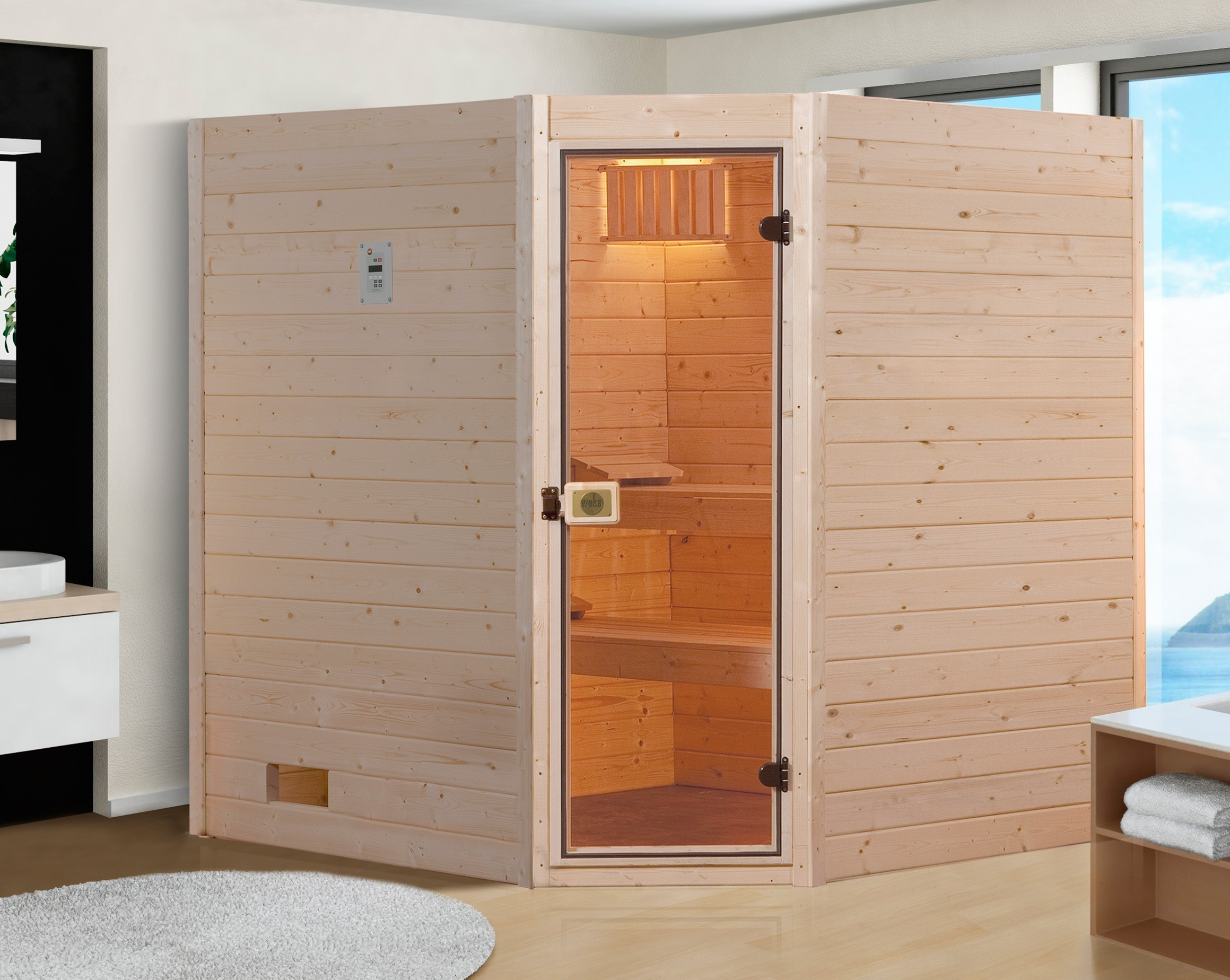 massivholz sauna weka 38 mm 539 gt gr 2 ohne saunaofen. Black Bedroom Furniture Sets. Home Design Ideas