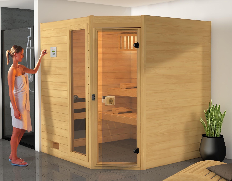 weka sauna 539 gtf gr 3 38 mm ohne ofen mit glast r und. Black Bedroom Furniture Sets. Home Design Ideas