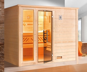 weka sauna 531 gtf gr 4 45mm ohne ofen mit glast r und fenster bei. Black Bedroom Furniture Sets. Home Design Ideas