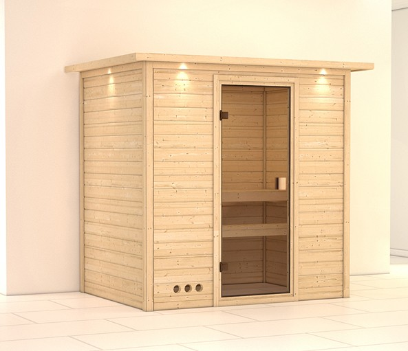 massivholz sauna sonja 38mm mit dachkranz ohne saunaofen bei. Black Bedroom Furniture Sets. Home Design Ideas